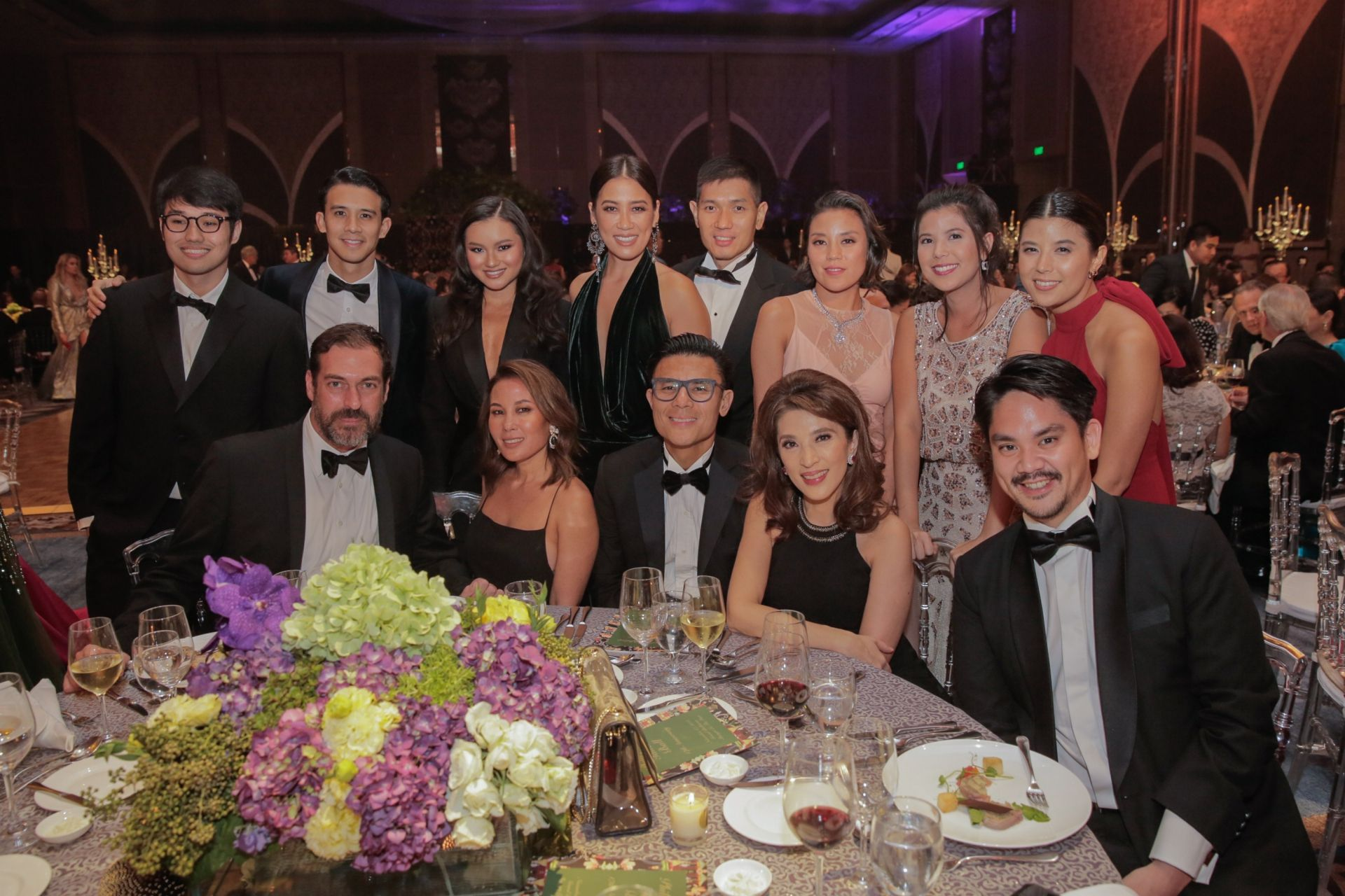 UPPER ROW: Pacho Sison, Miko De Los Reyes, Nikki Huang, Kathy and Mike Huang, Bea Reyes, Camille Tantoco, and Nicole De Los Reyes; LOWER ROW: Ricardo Preto, Katrina Lobregat, Donnie and Crickette Tantoco, and Das Reyes