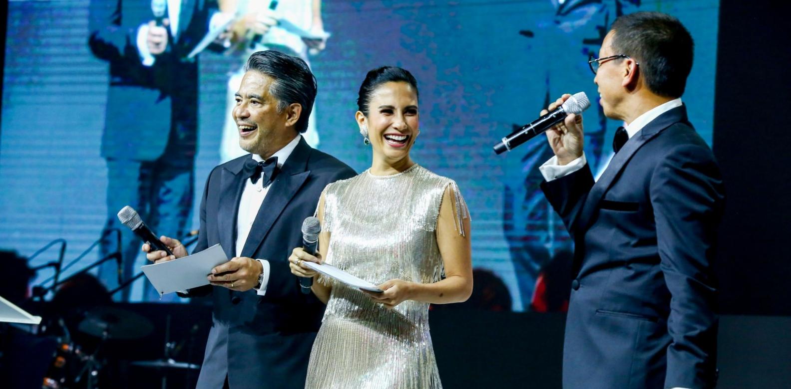 Dr. Randy Francisco, Stephanie Zubiri-Crespi, and Kim Atienza host the charity auction