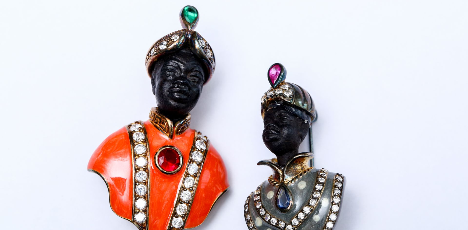 """When I travel, I try to take home an accessory or unique piece of jewellery. These Moor brooches from Venice are made from ebony and precious stones. They make great conversation pieces"""
