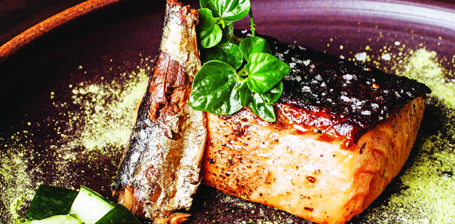 Salmon 63 degrees with organic sardines