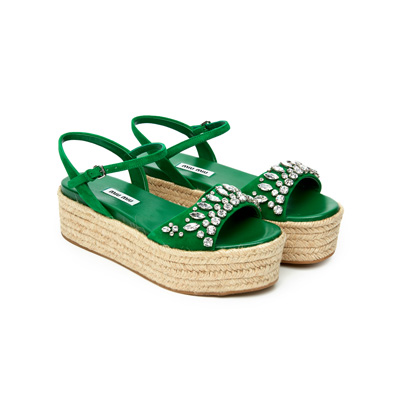 SG Tatler Fashion Drops - Miu Miu Embellished Platform Sandals