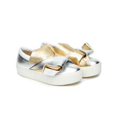 SG Tatler Fashion Drops - N 21 Knotted Metallic Leather Slip-On Sneakers