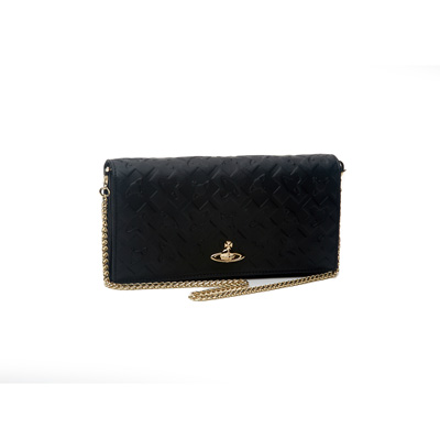 SG Tatler Fashion Drops - Vivienne Westwood Anglomania Harrow Embossed Leather Long Wallet with Chain
