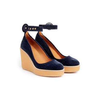 SG Tatler Fashion Drops - Castaner Marine Blue Quinta Victoria Wedge