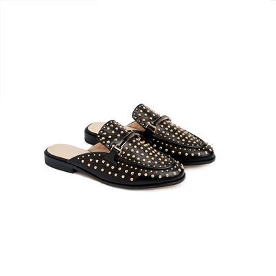 SG Tatler Fashion Drops - Pedder Red Kobe Stud Leather Slide Loafers