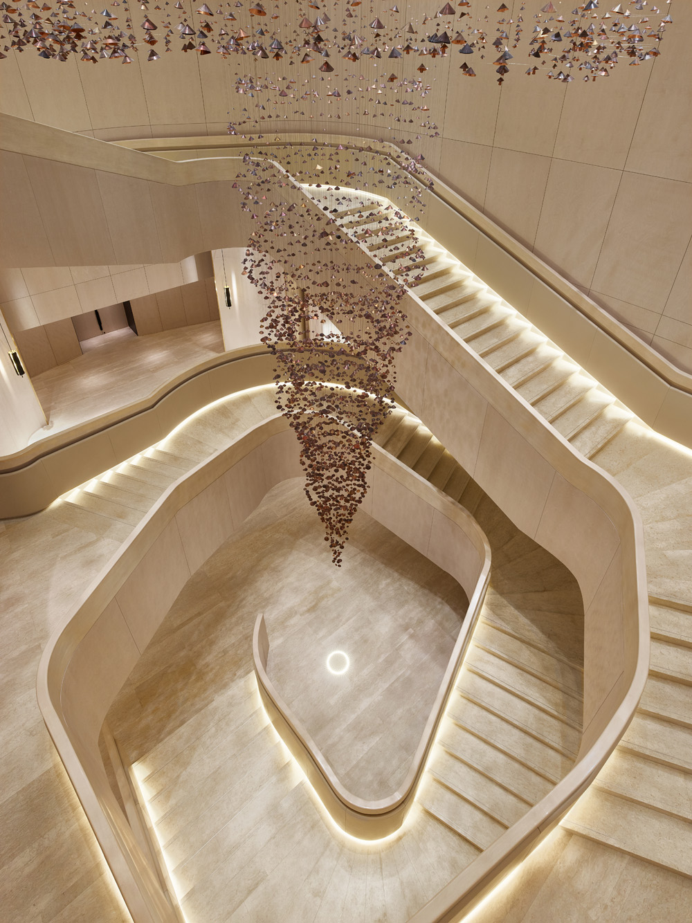 The main staircase that leads to the ballrooms at Park Hyatt Bangkok