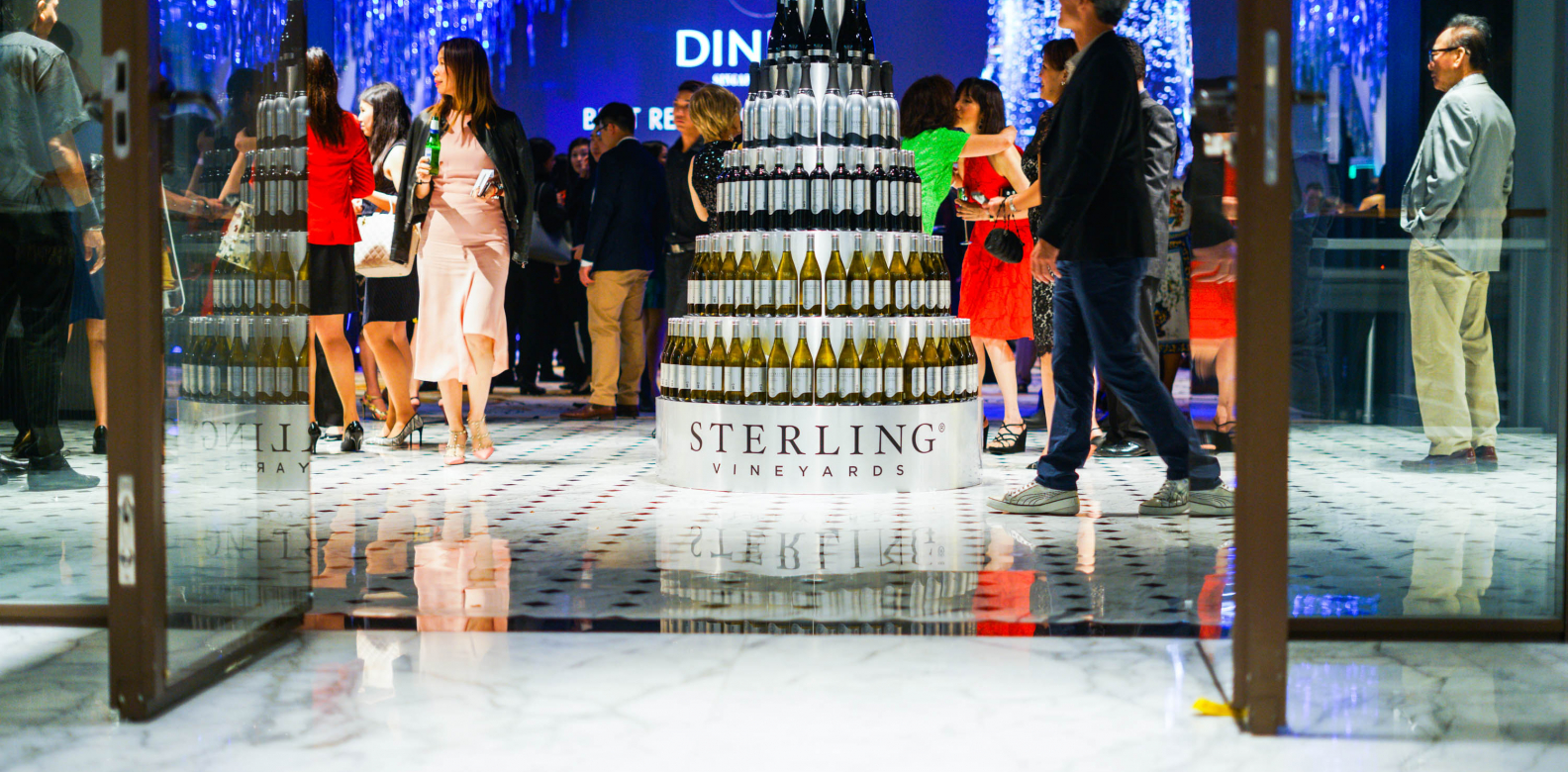 The stunning wine tower that immediately greeted guests upon entrance