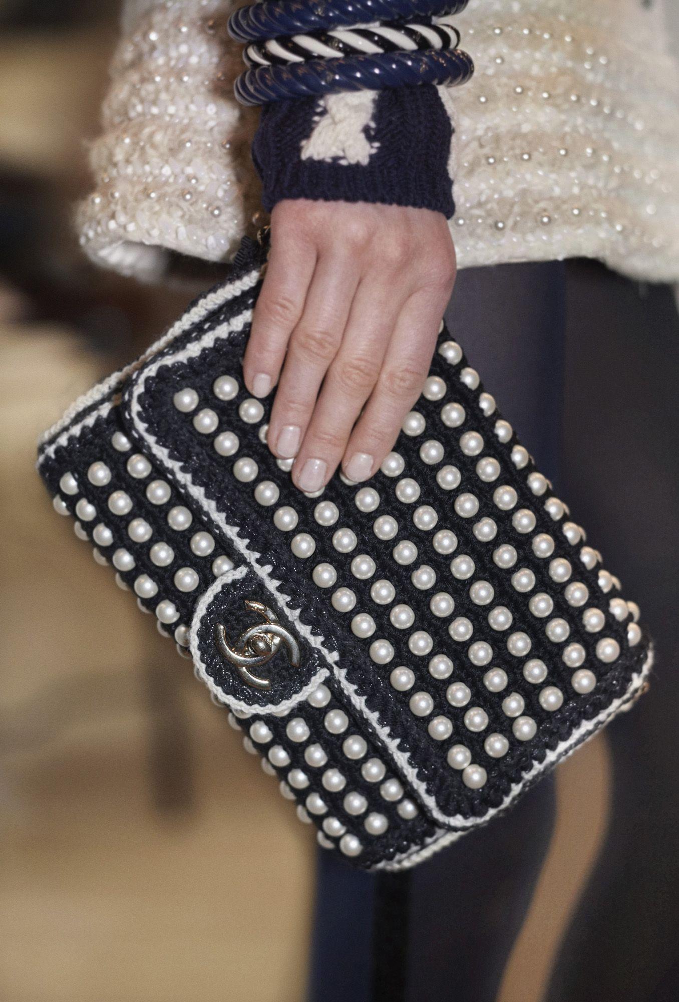 Pearl embellished classic bag