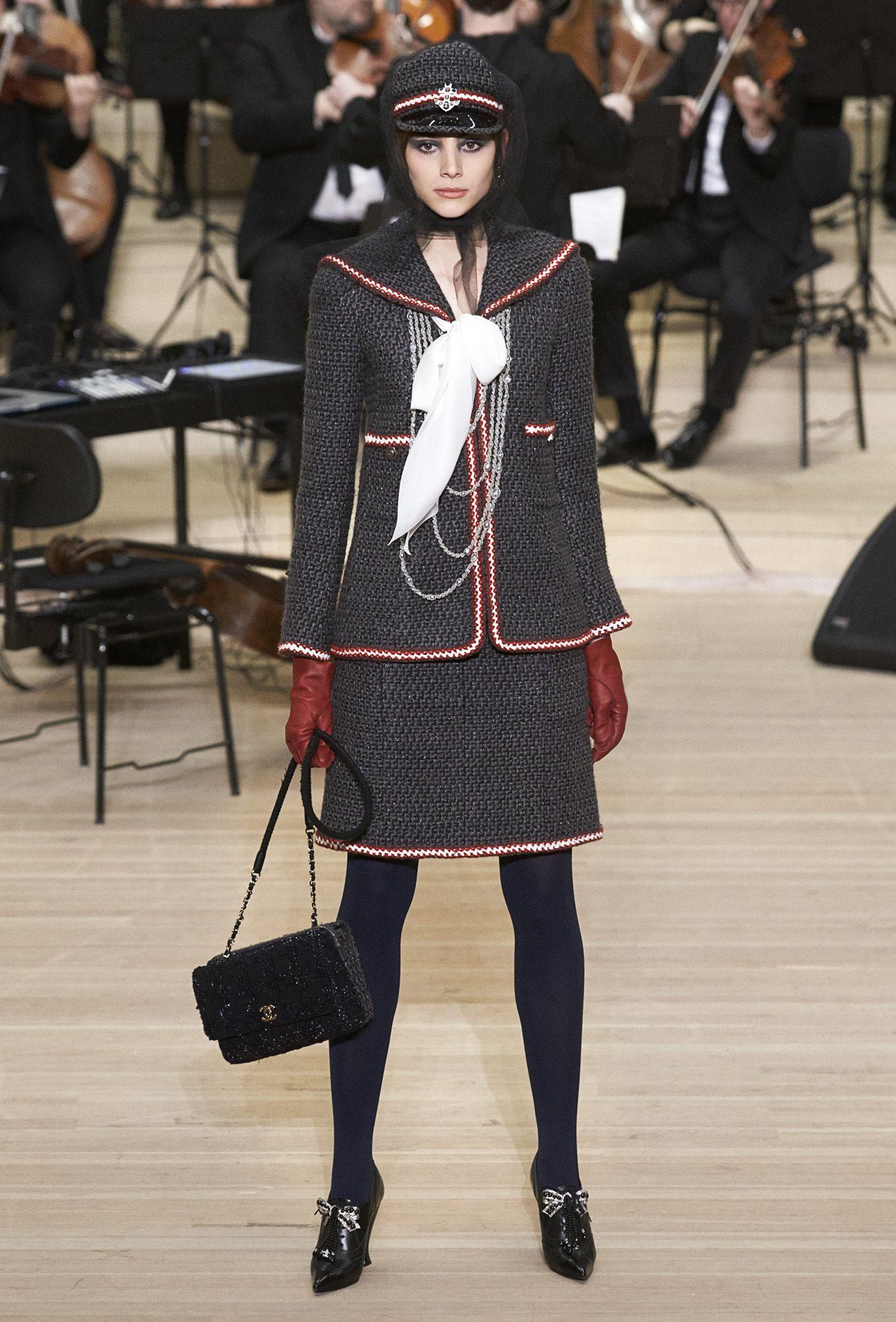 Sailor-collared tweed suit