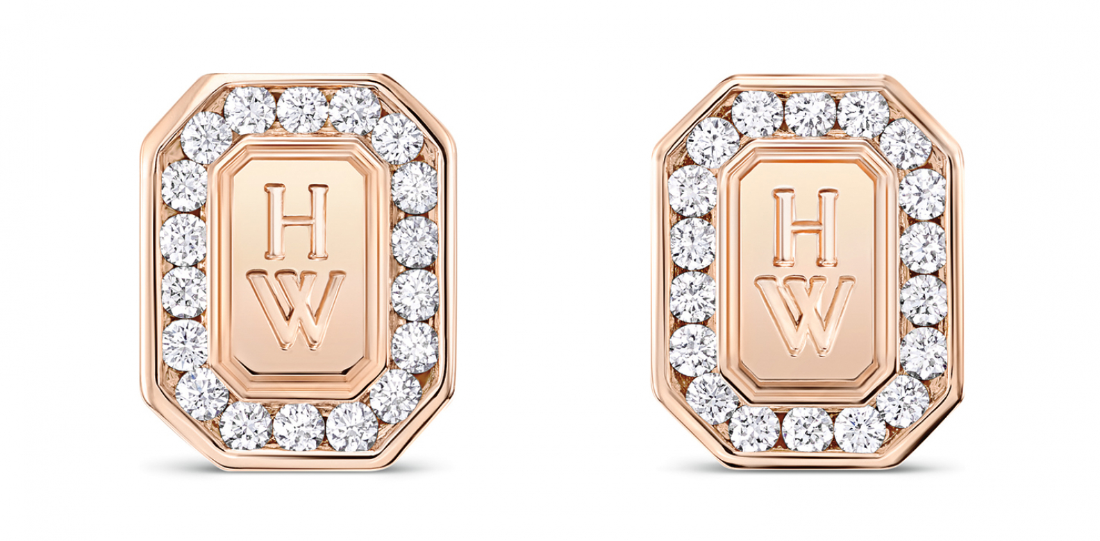 HW Logo by Harry Winston rose gold diamond earrings