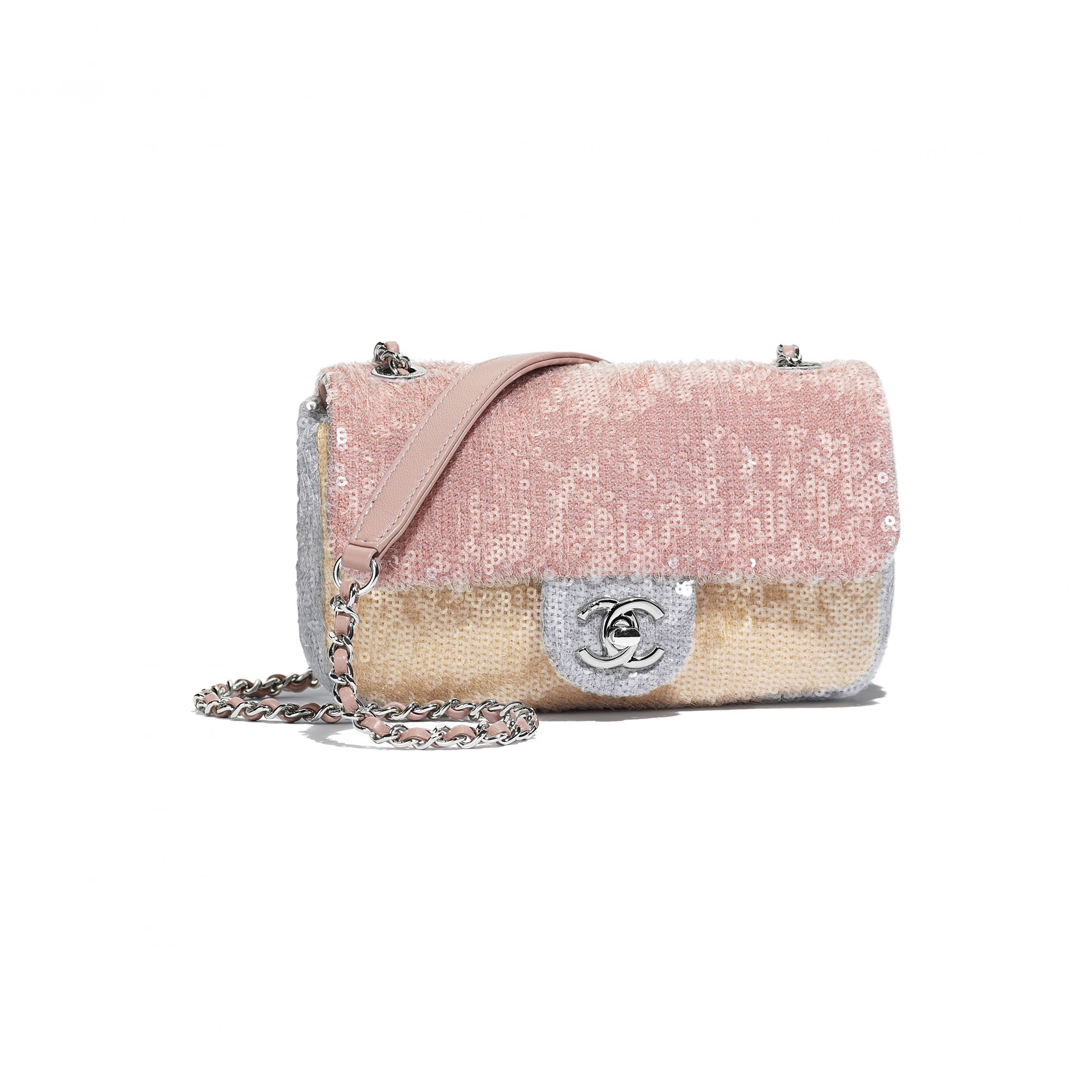 Multicoloured bag in leather and sequins