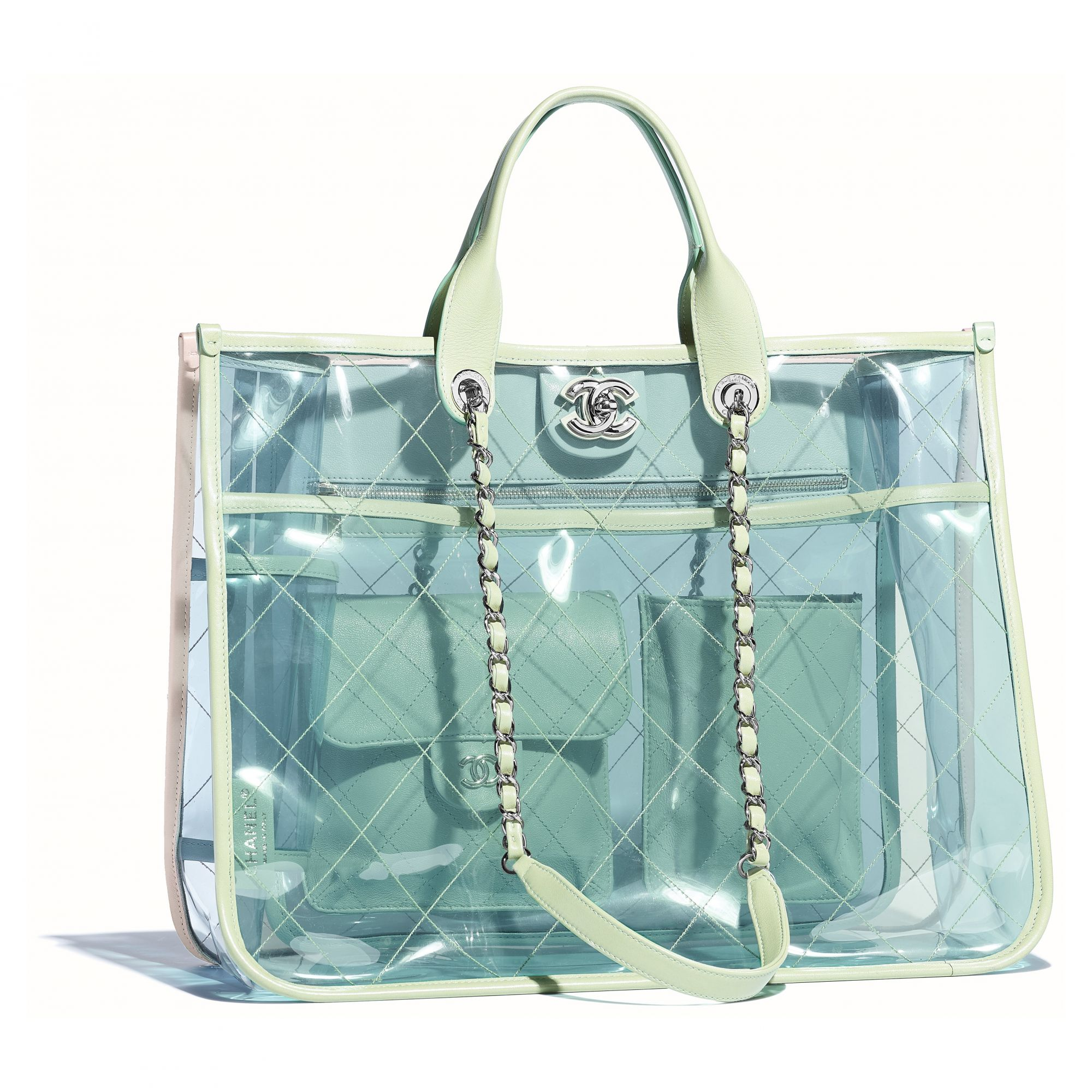 Multicoloured shopper bag in PVC and leather