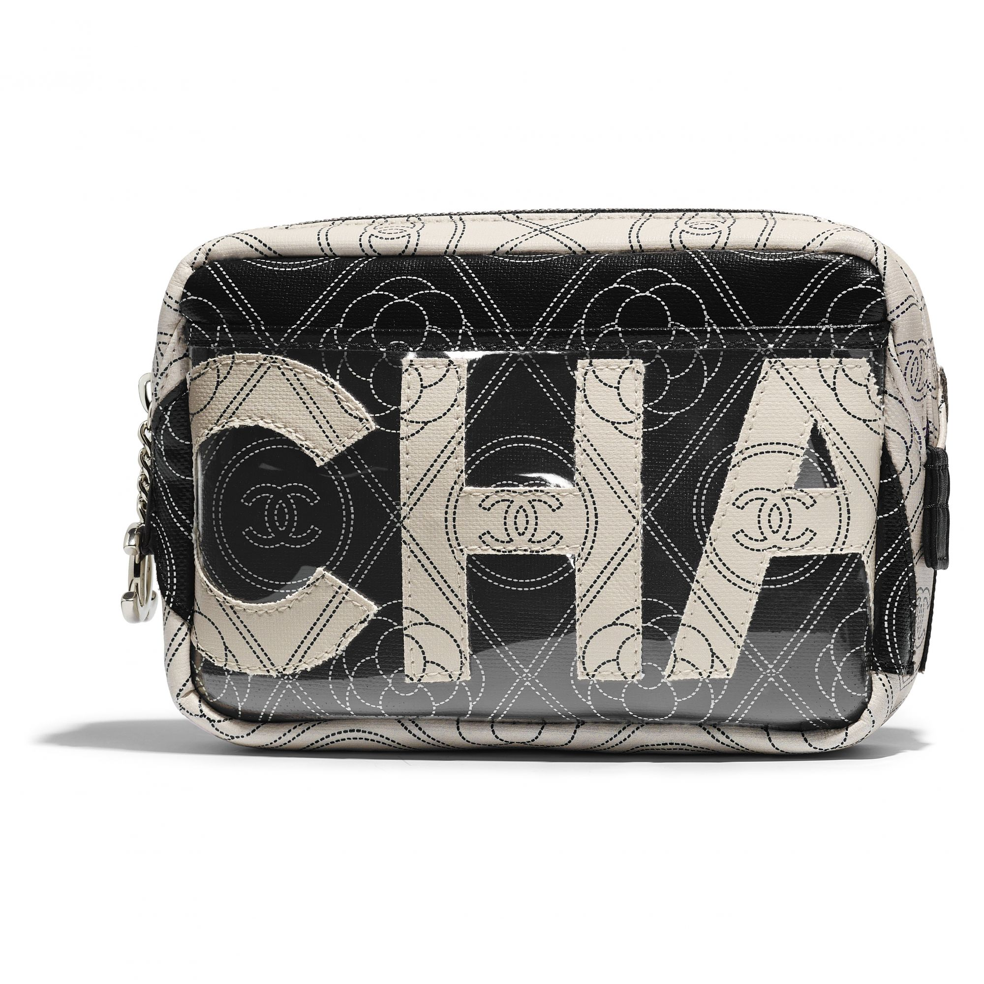 Black and beige camera case bag in printed canvas and leather