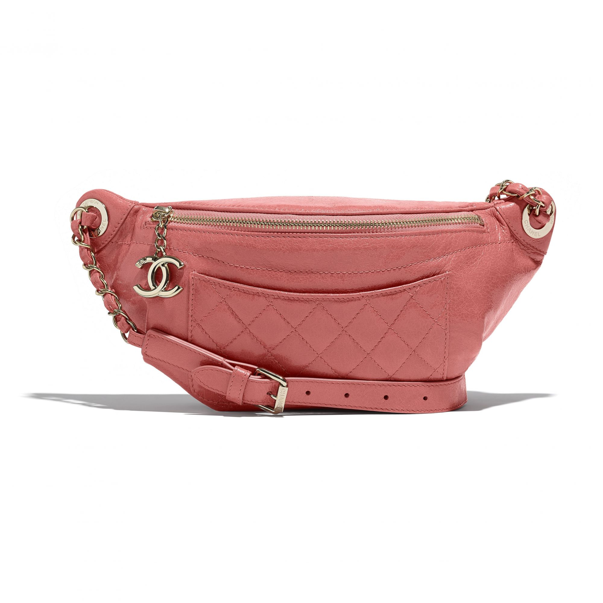 Fanny pack in pink shiny leather