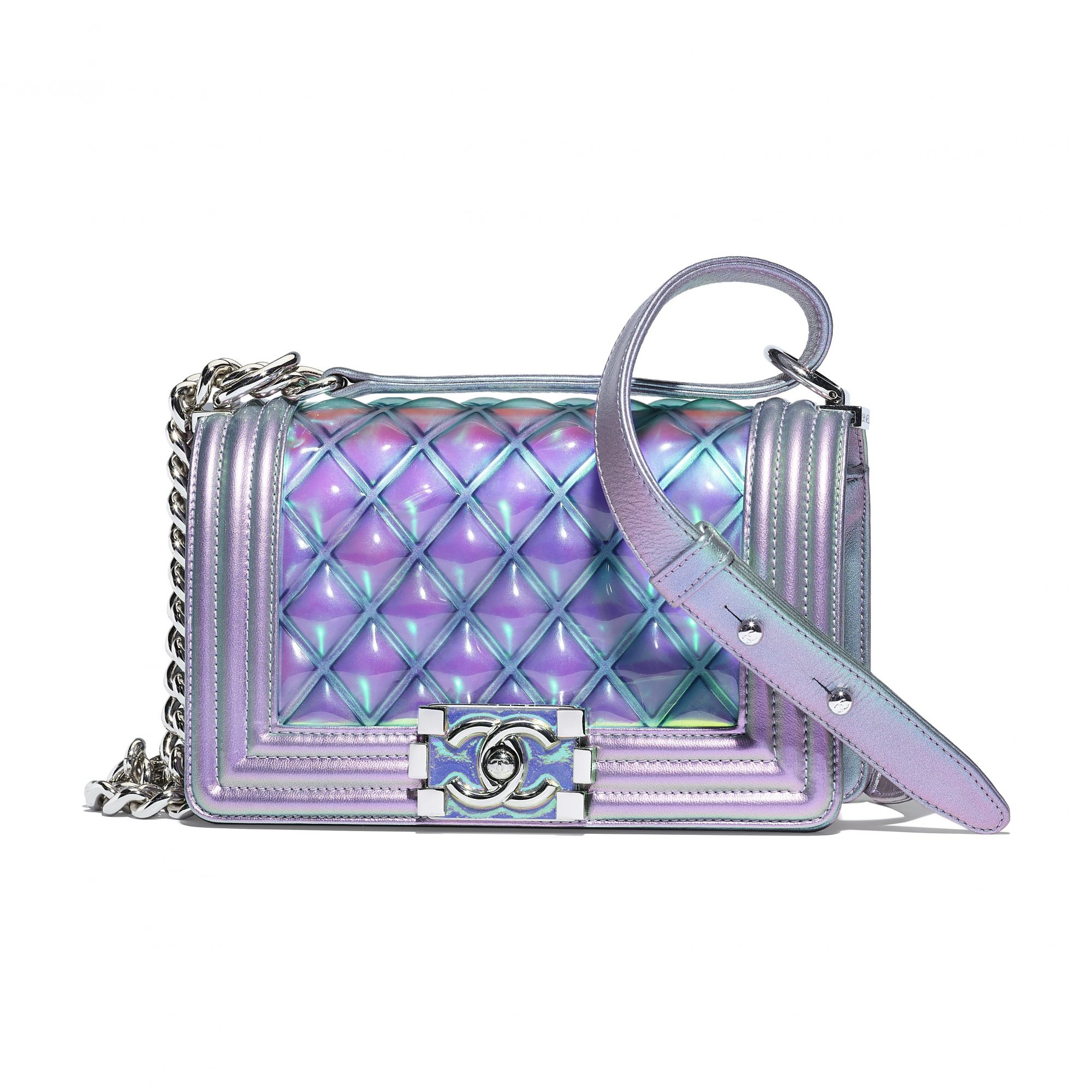 Boy Chanel bag in  purple PVC and iridescent leather
