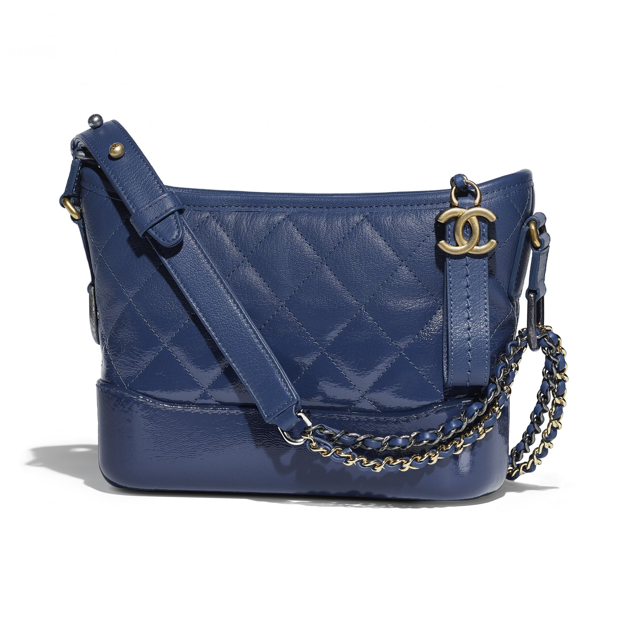 Blue Chanel Gabrielle bag in leather