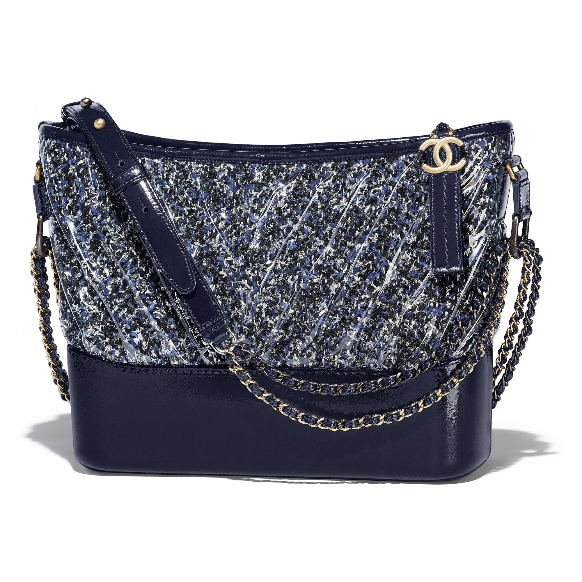Chanel Gabrielle bag in multicolored tweed, transparent PVC and dark blue leather