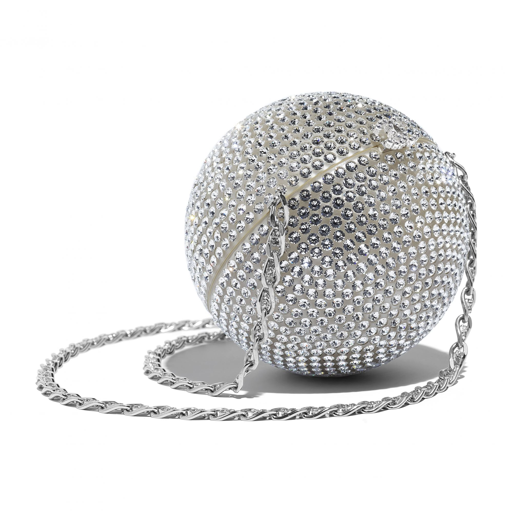 Minaudiere in metal, leather and strass