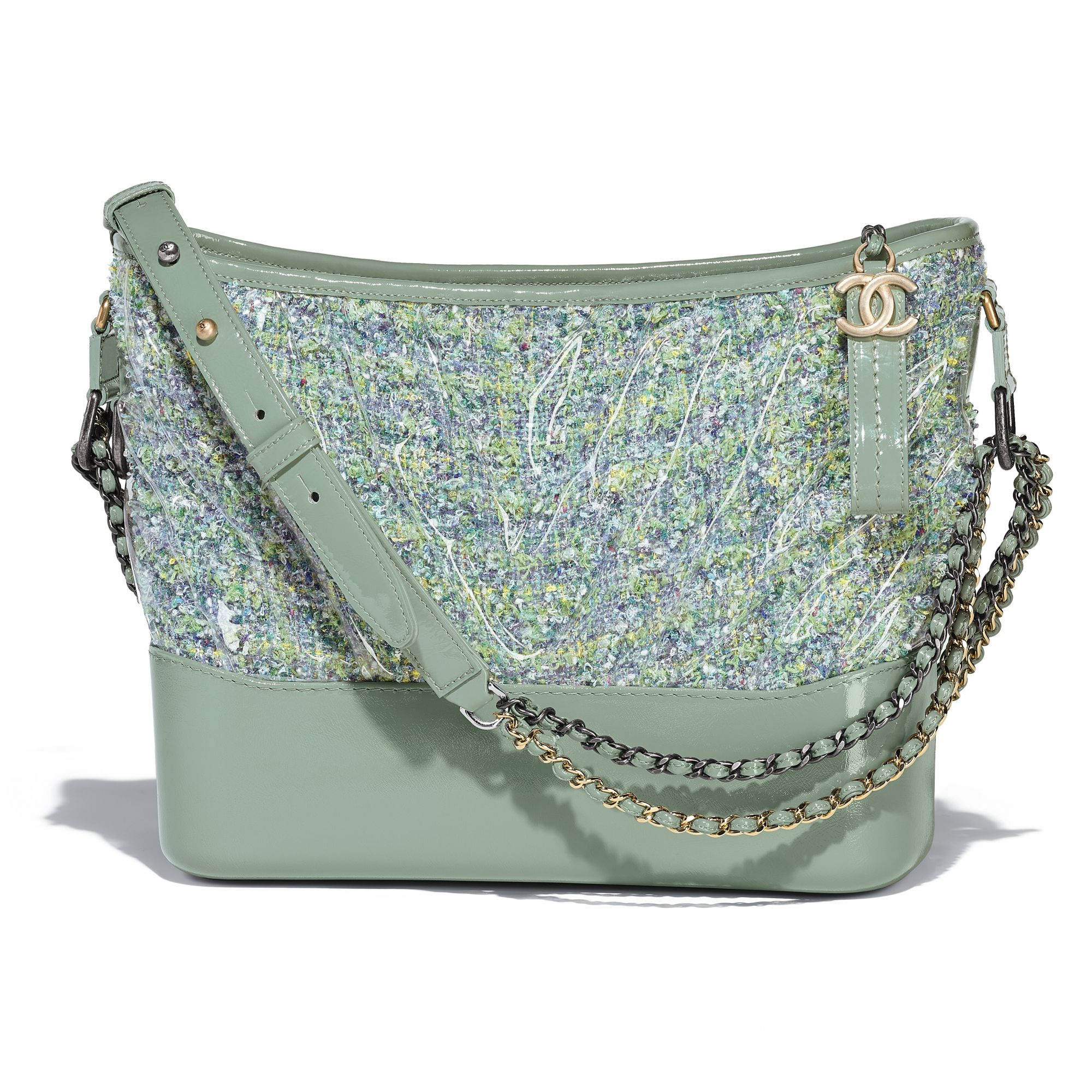 Green Chanel Gabrielle bag in tweed, PVC and leather