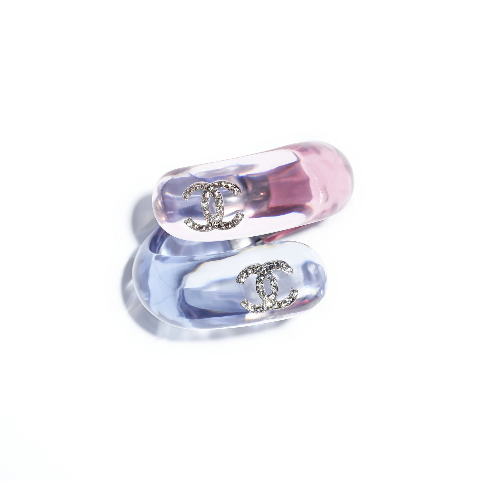 Bracelet in metal, pink and blue resin and strass