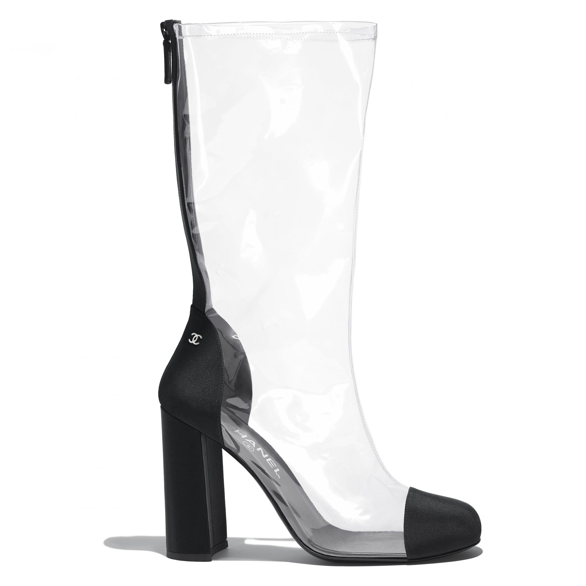 Boot in transparent PVC and black grosgrain