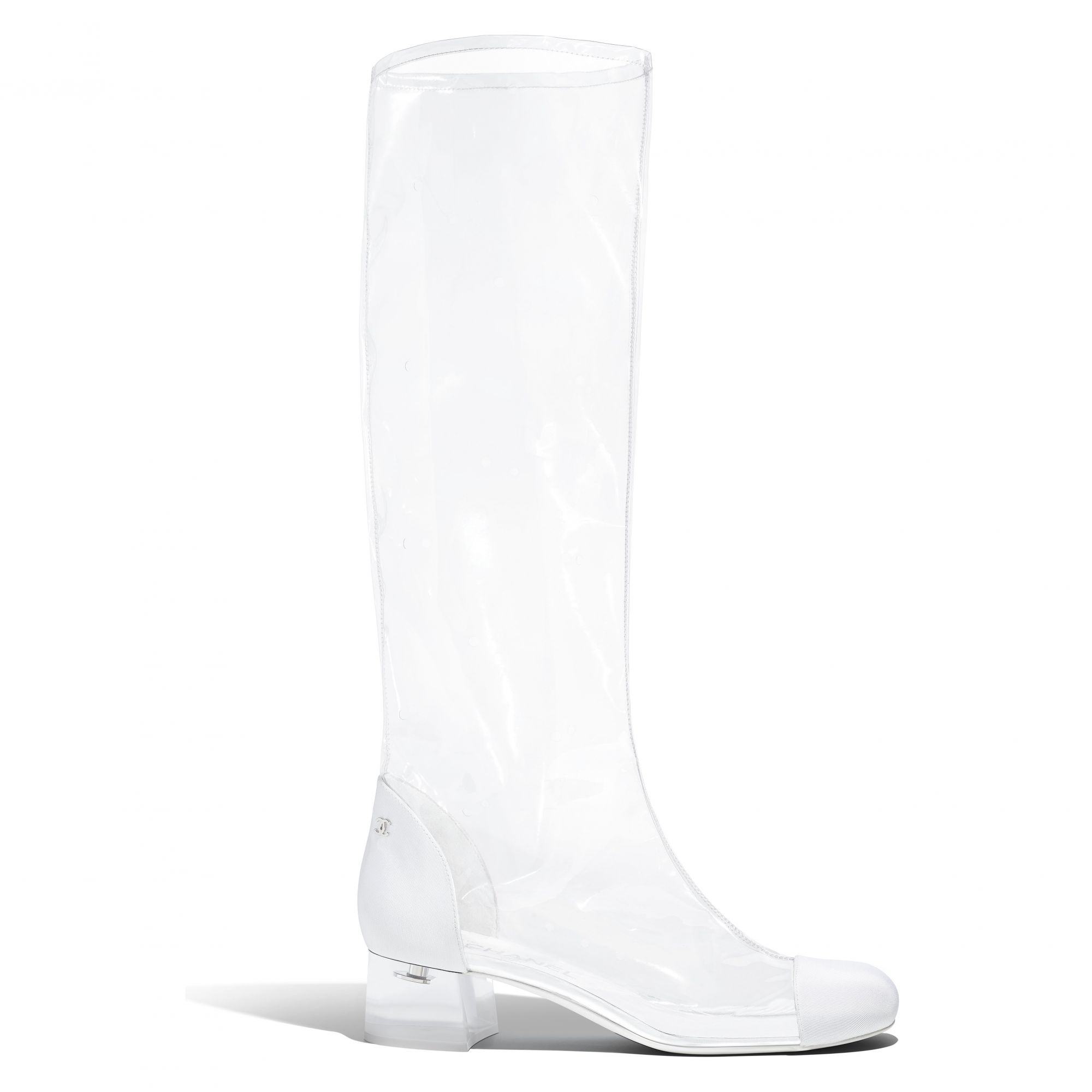 Boot in transparent PVC and white grosgrain