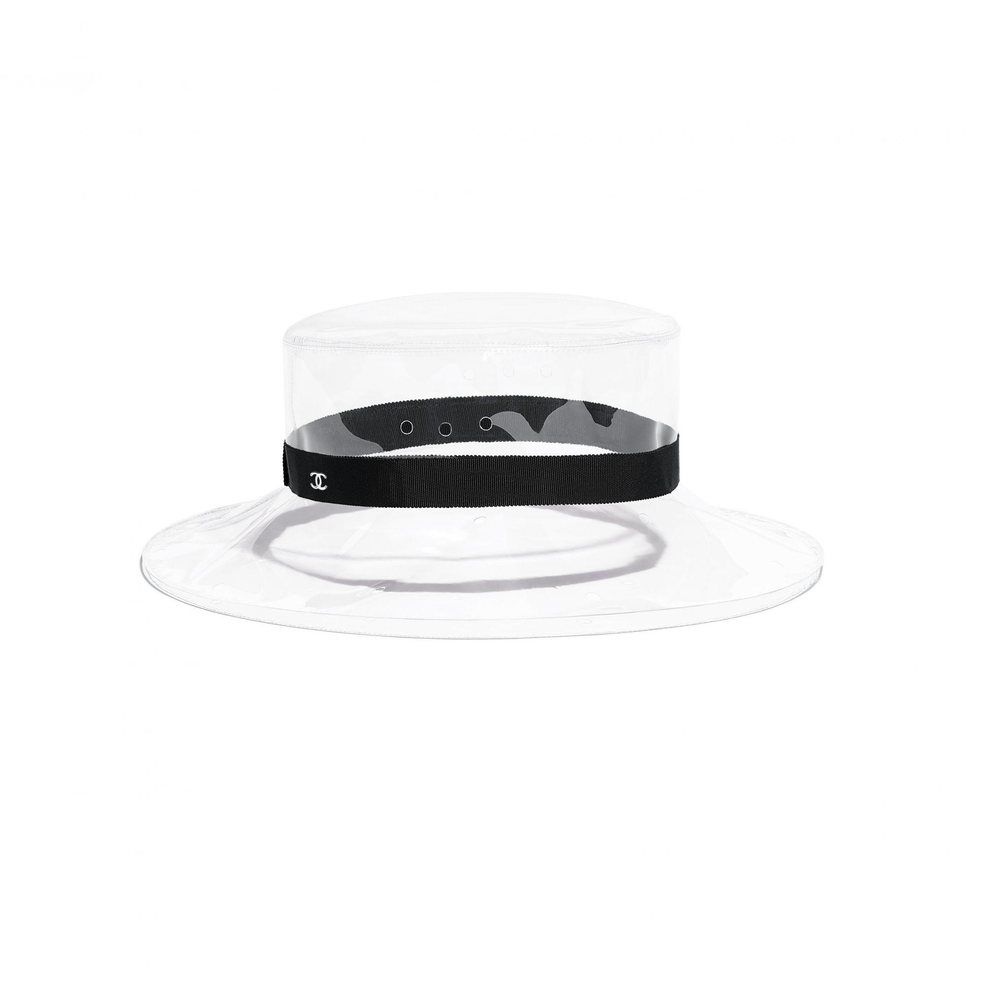 Hat in transparent PVC and black grosgrain