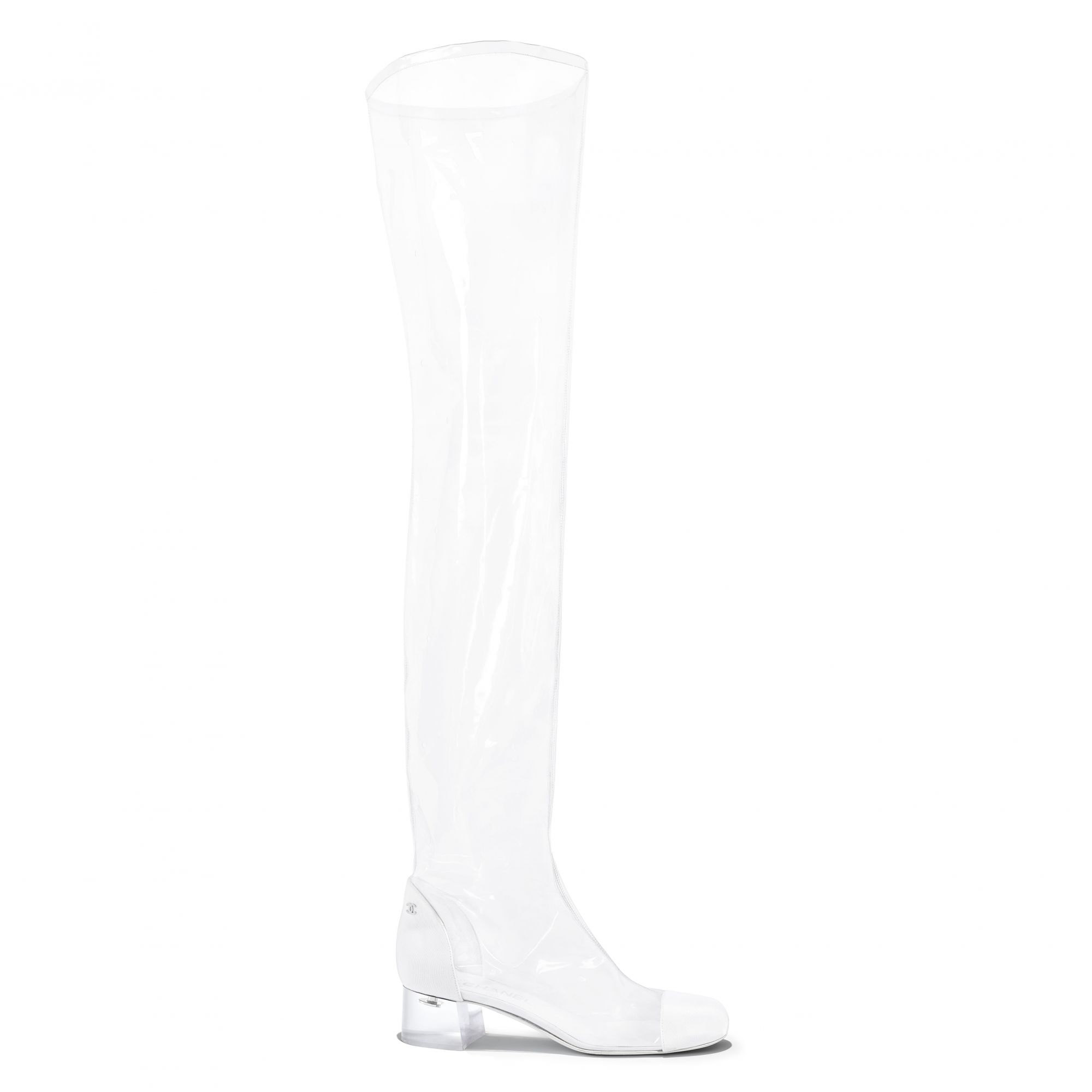 Thigh boot in transparent PVC and white grosgrain