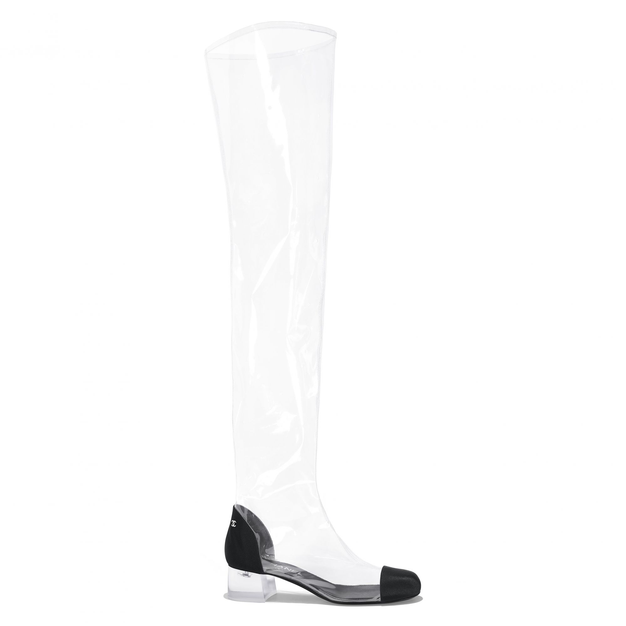 Thigh boot in transparent PVC and black grosgrain