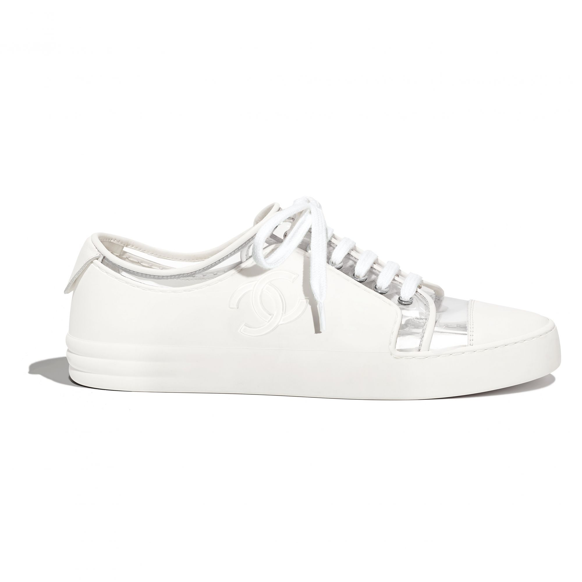White sneakers in leather, fabric and rubber