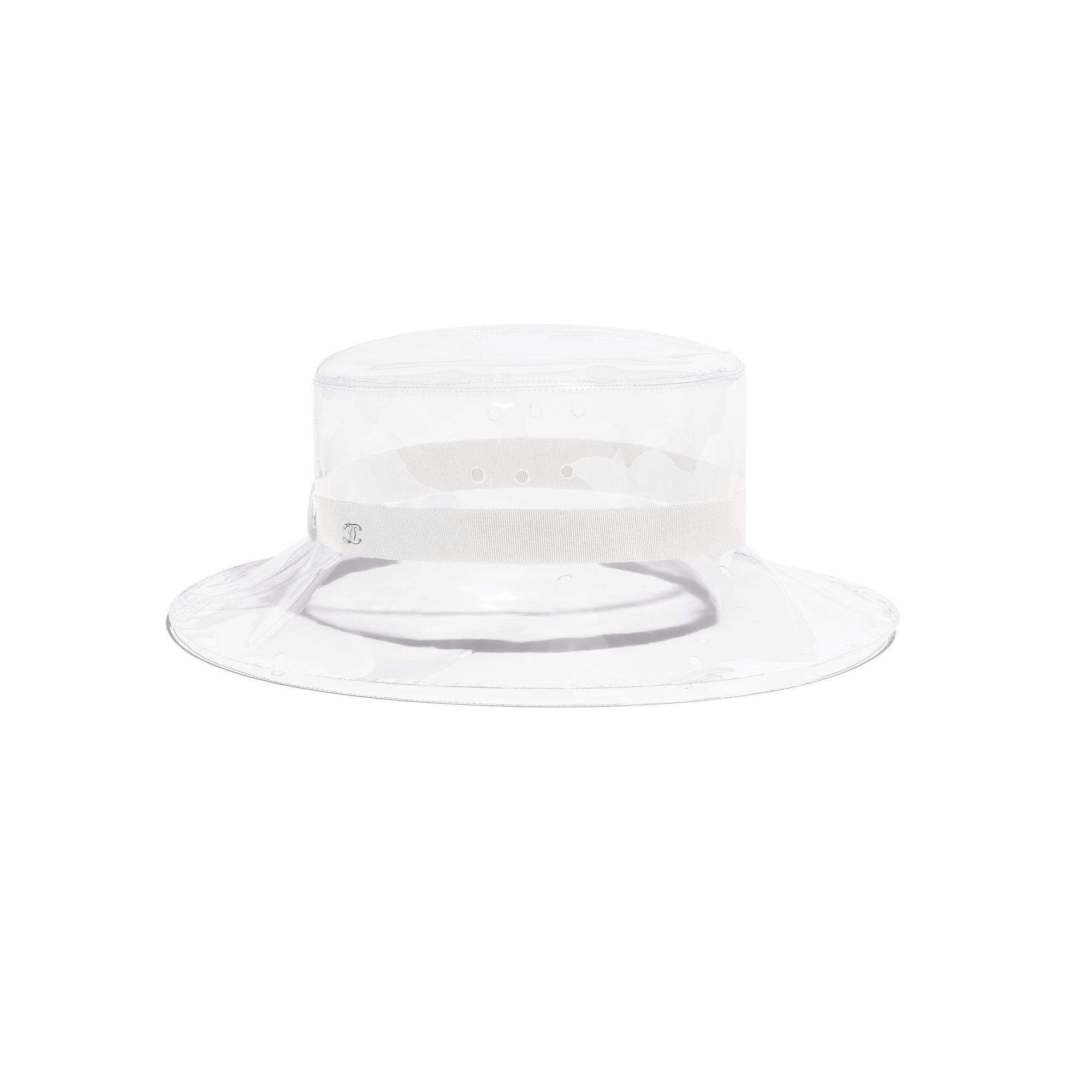 Hat in transparent PVC and white grosgrain