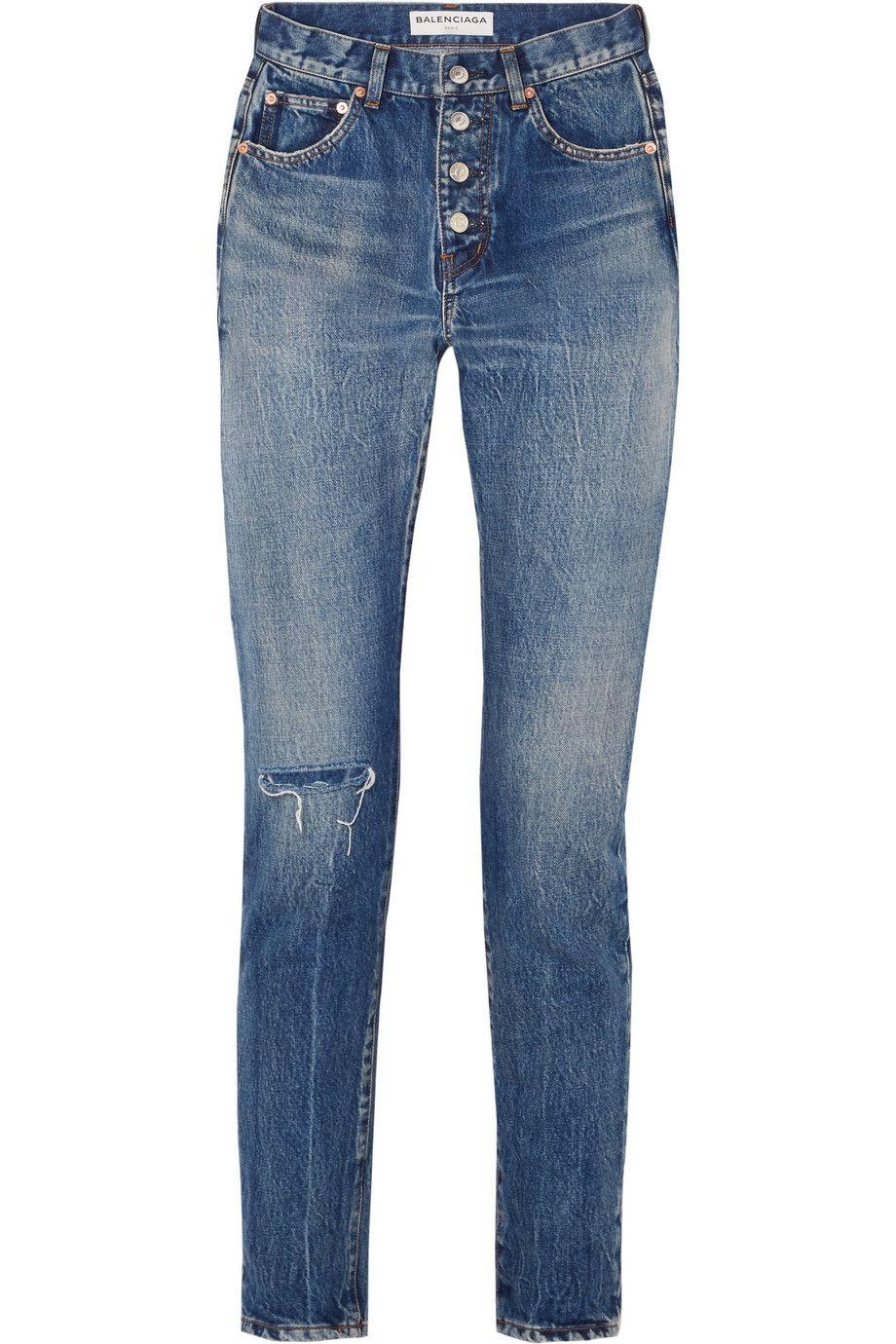 Net-A-Porter x Balenciaga Distressed mid-rise straight-leg jeans
