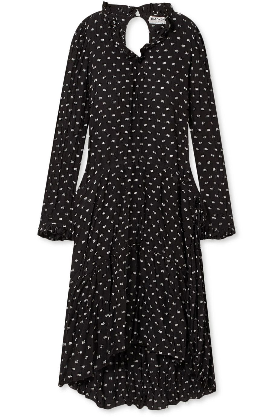 Net-A-Porter x Balenciaga Printed crinkled-silk midi dress