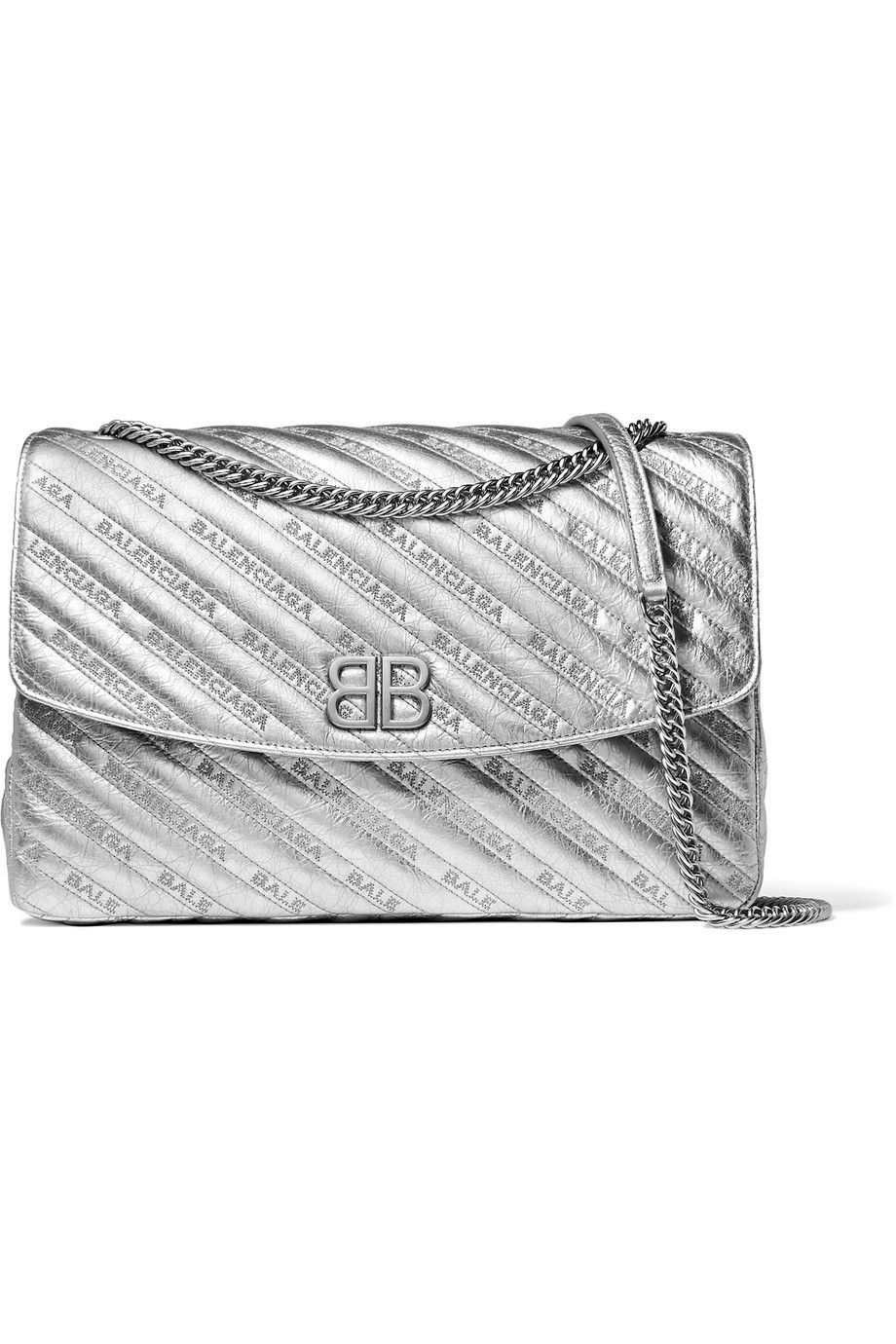 Net-A-Porter x Balenciaga BB Round large embroidered metallic textured-leather shoulder bag