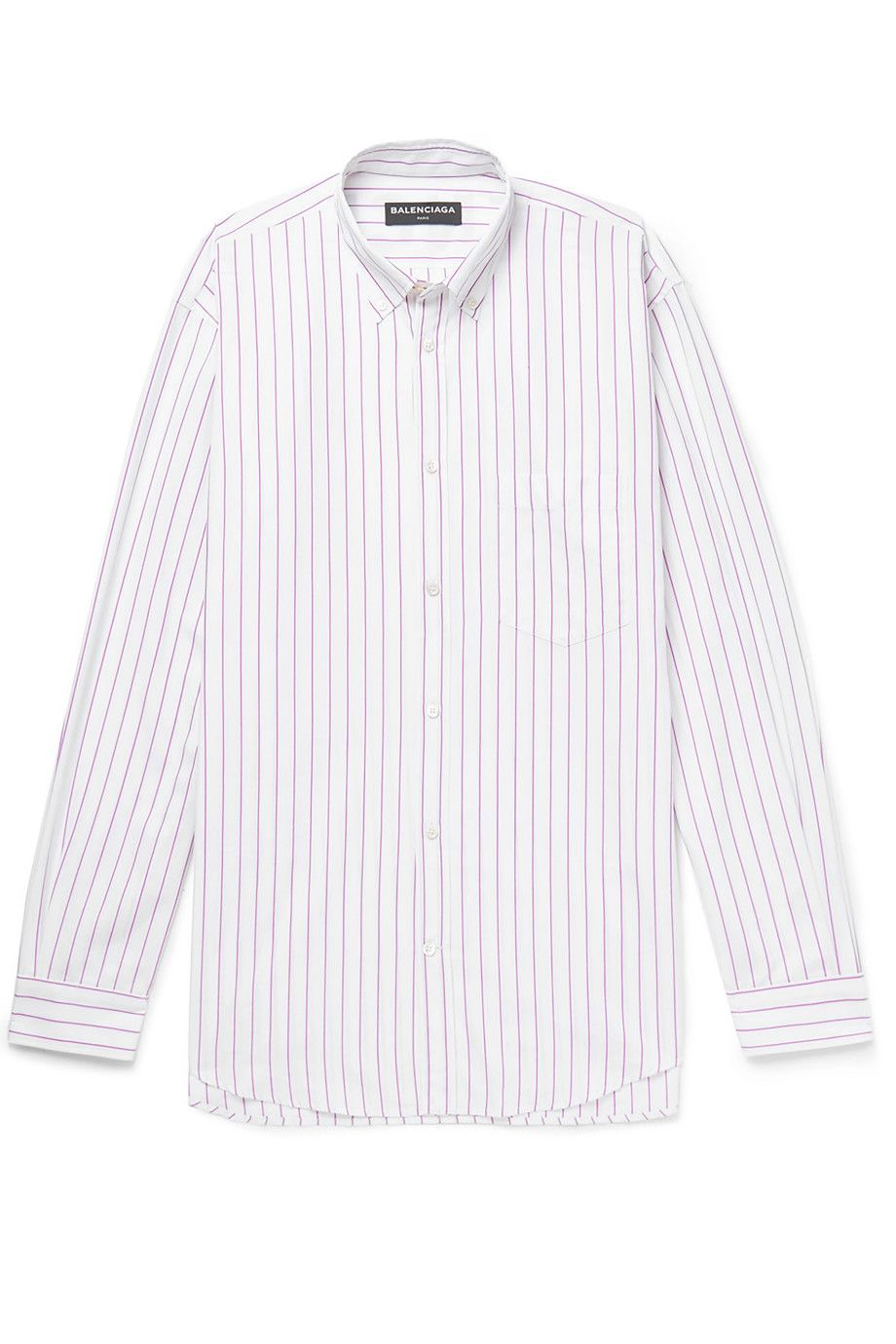 MR PORTER X BALENCIAGA Oversized Button-Down Collar Striped Cotton-Poplin Shirt Pink