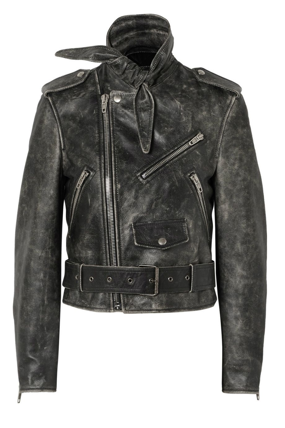 NET-A-PORTER x BALENCIAGA Scarf distressed leather biker jacket