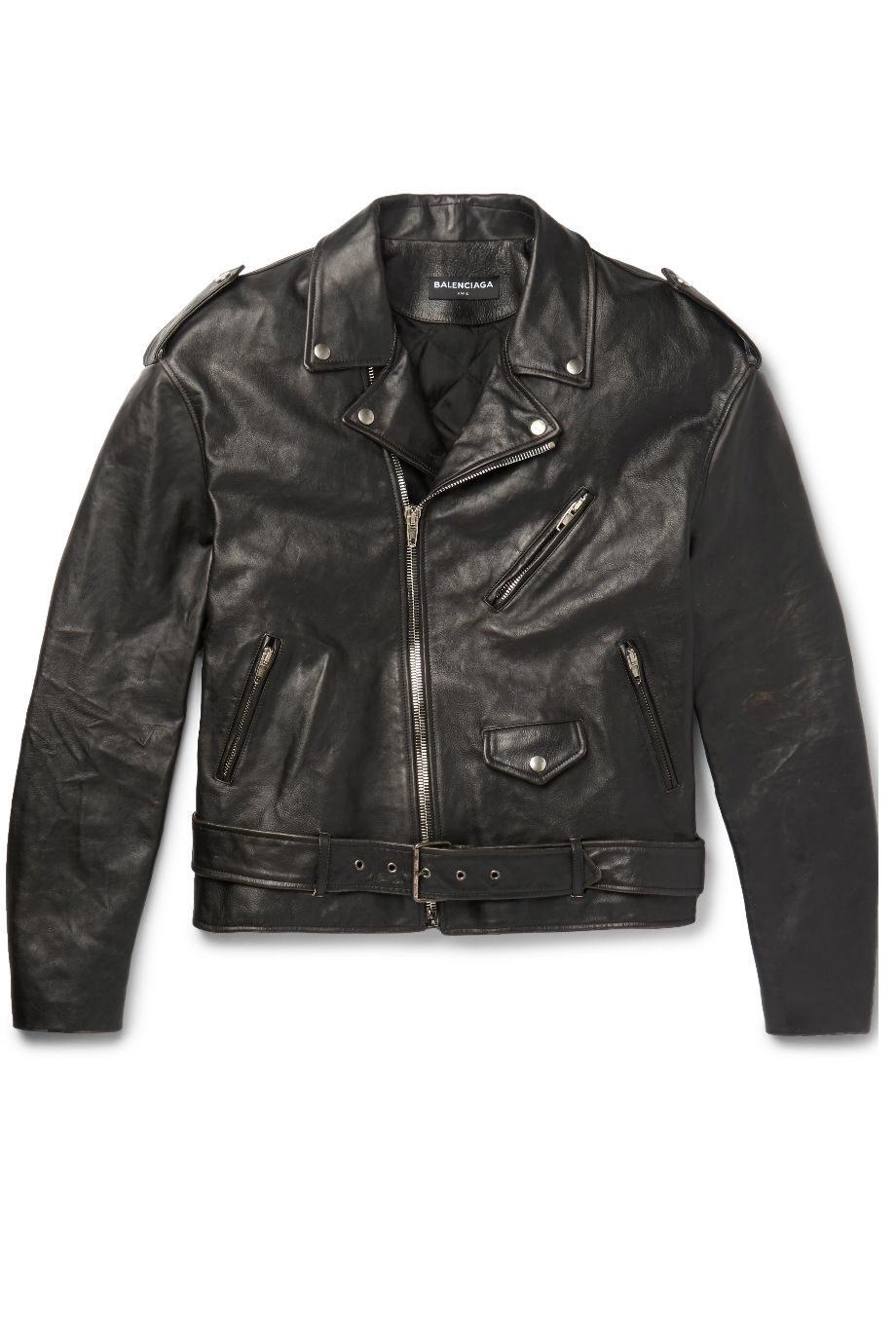 MR PORTER X BALENCIAGA Paint Logo Leather Biker Jacket