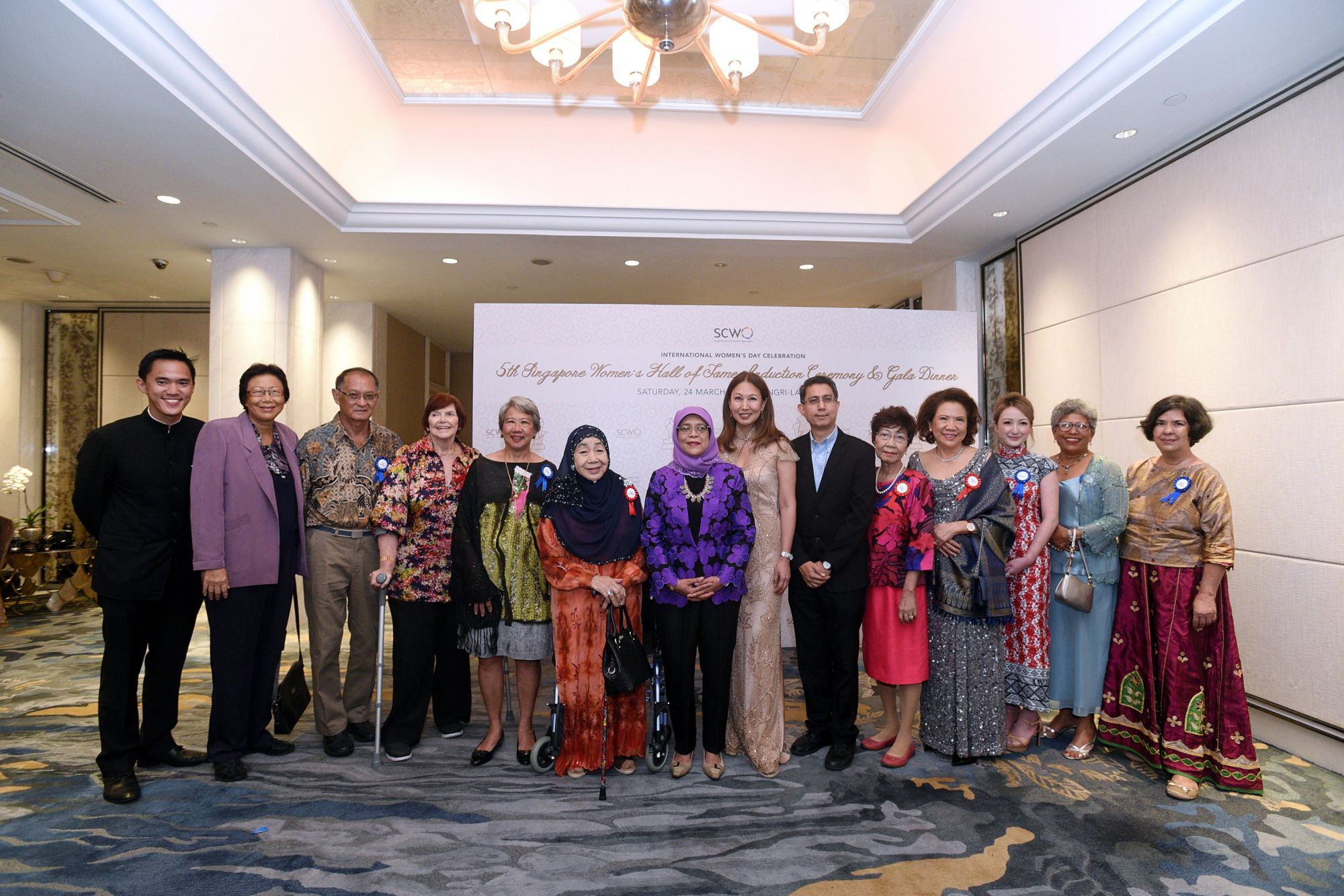 President Halimah Yacob with the 2018 honourees of the Singapore Women's Hall of Fame