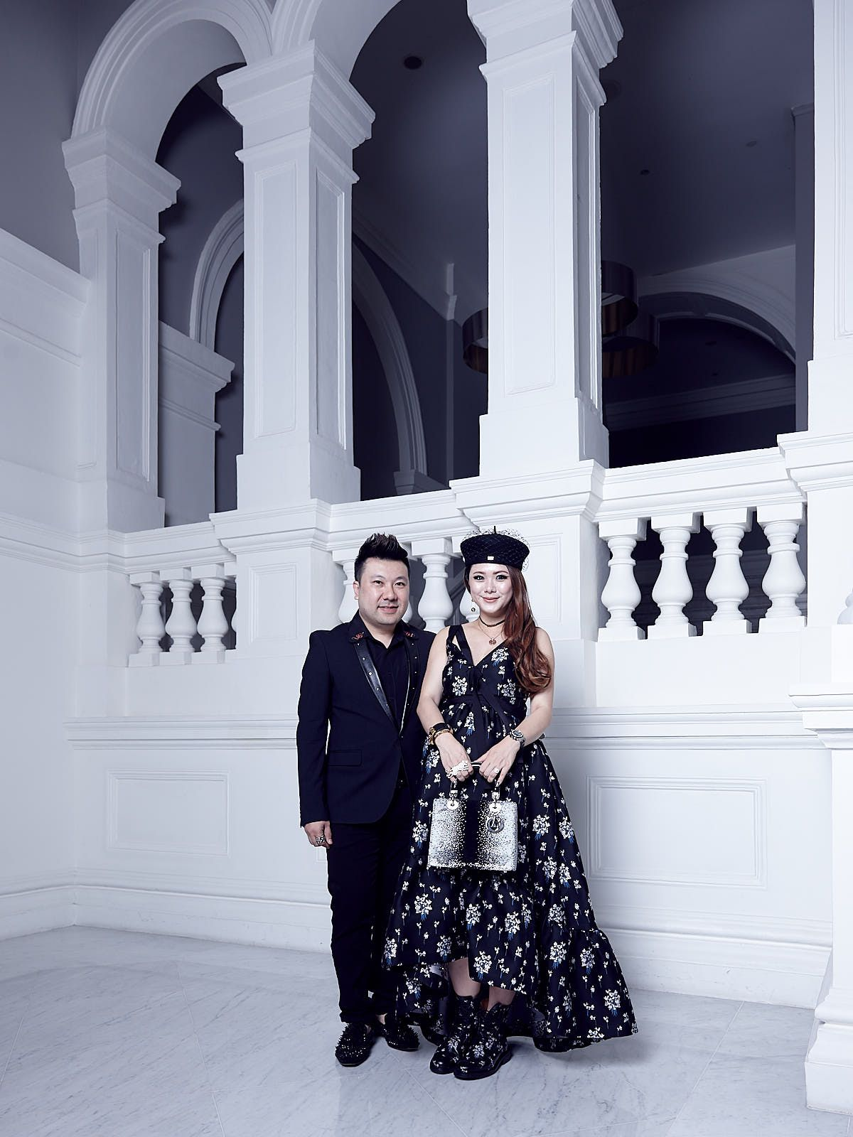 Terence Siew in Dolce & Gabbana, Chermaine Pang in Erdem x H&M