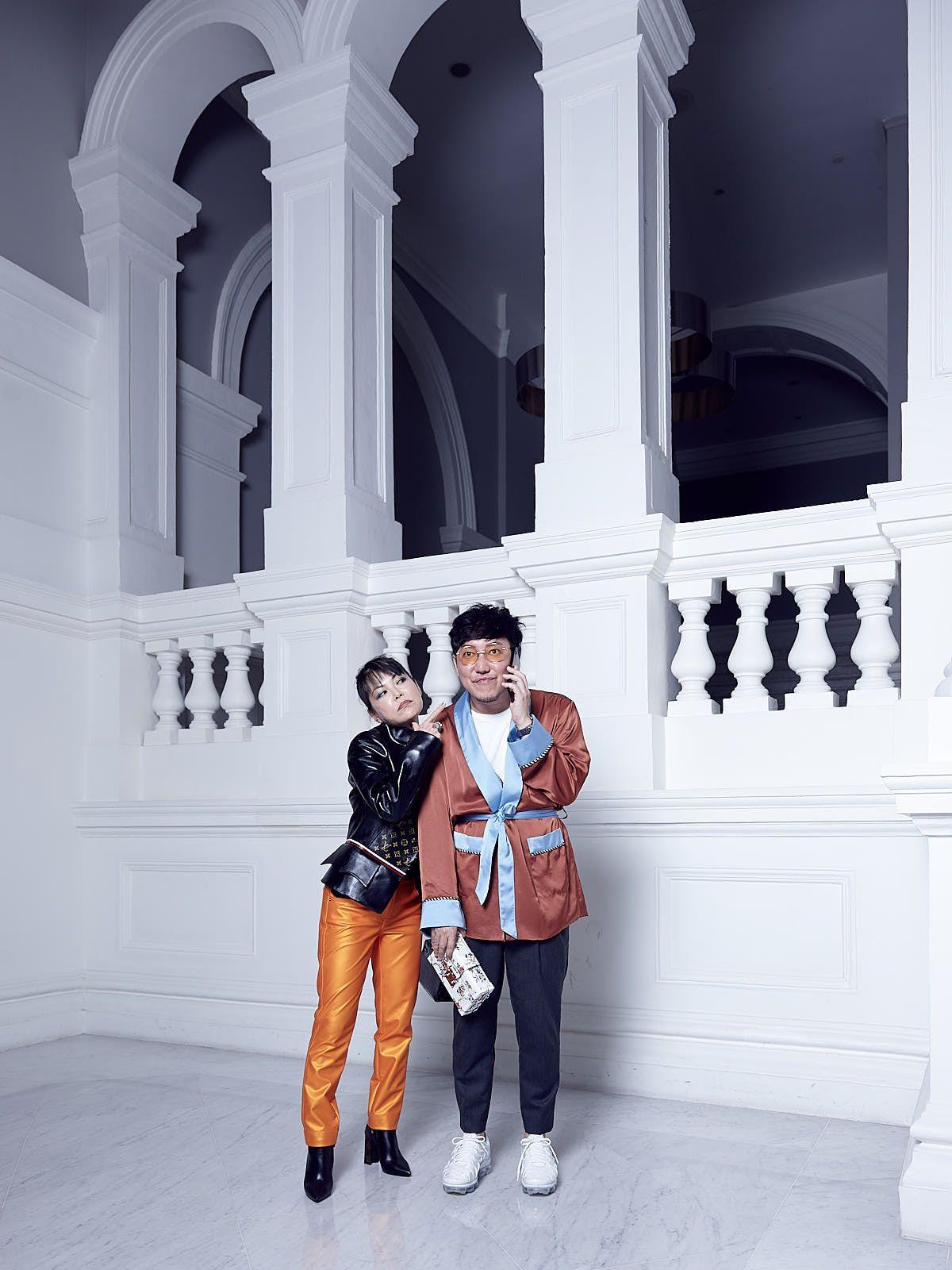 Kyoko Abe in Louis Vuitton, Desmond Lim in Christian Dada