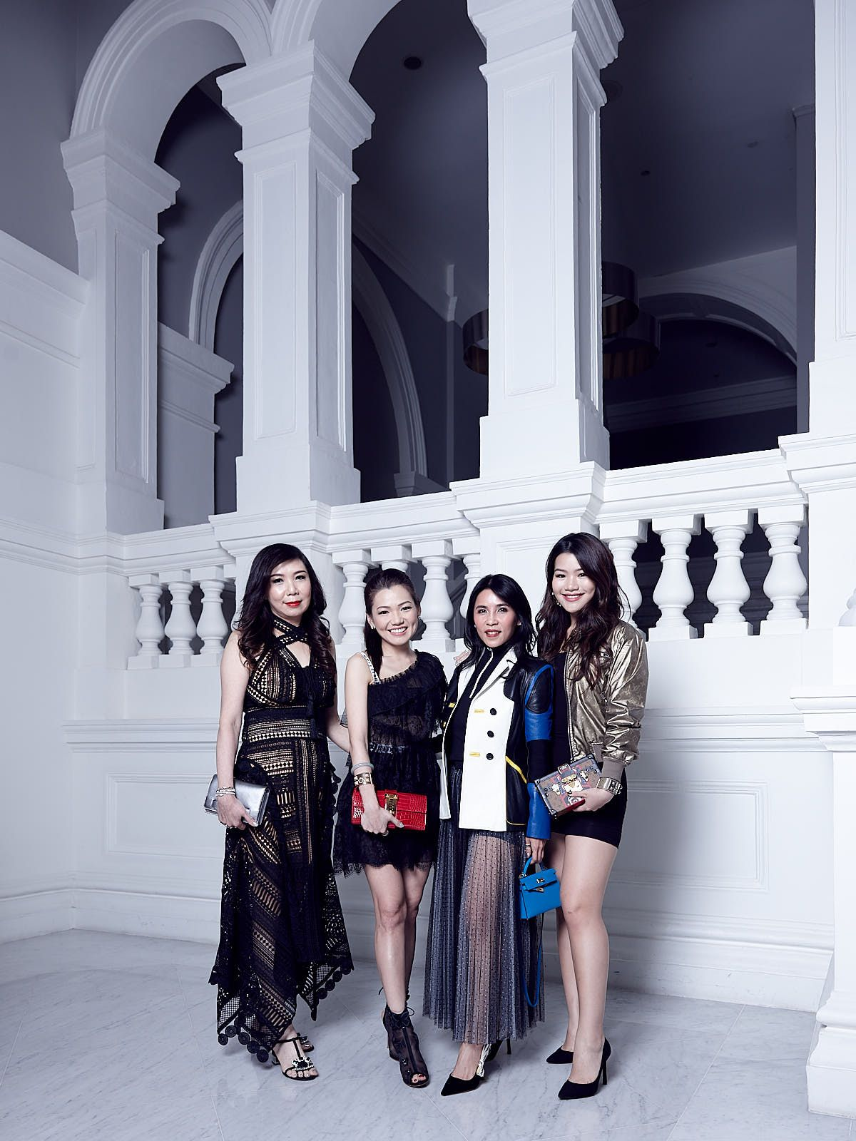 Sharon Heng, Angela Ng in Dior, Fanty Soenardy in Dior, Adeline Teo in Louis Vuitton