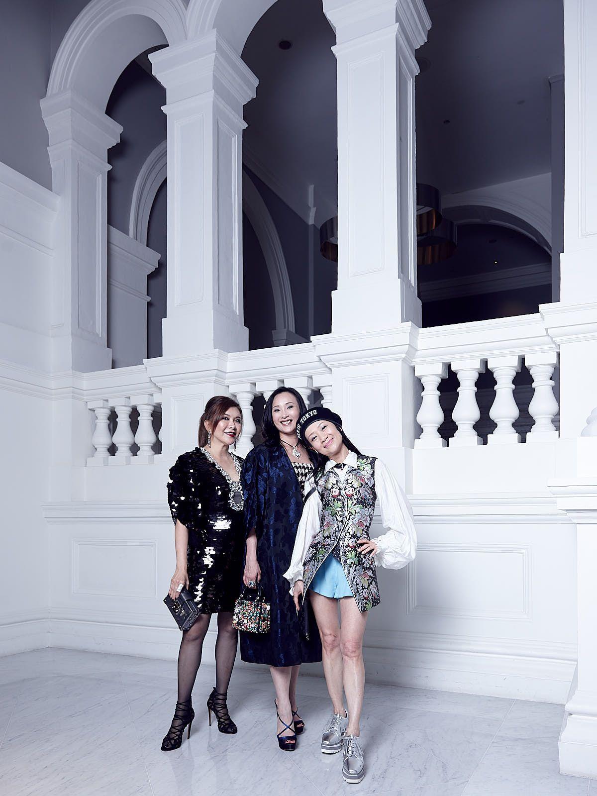 Belinda Chua in Dennes Y Prive, Caroline Low-Heah in vintage Dior, Dana Cheong in Louis Vuitton
