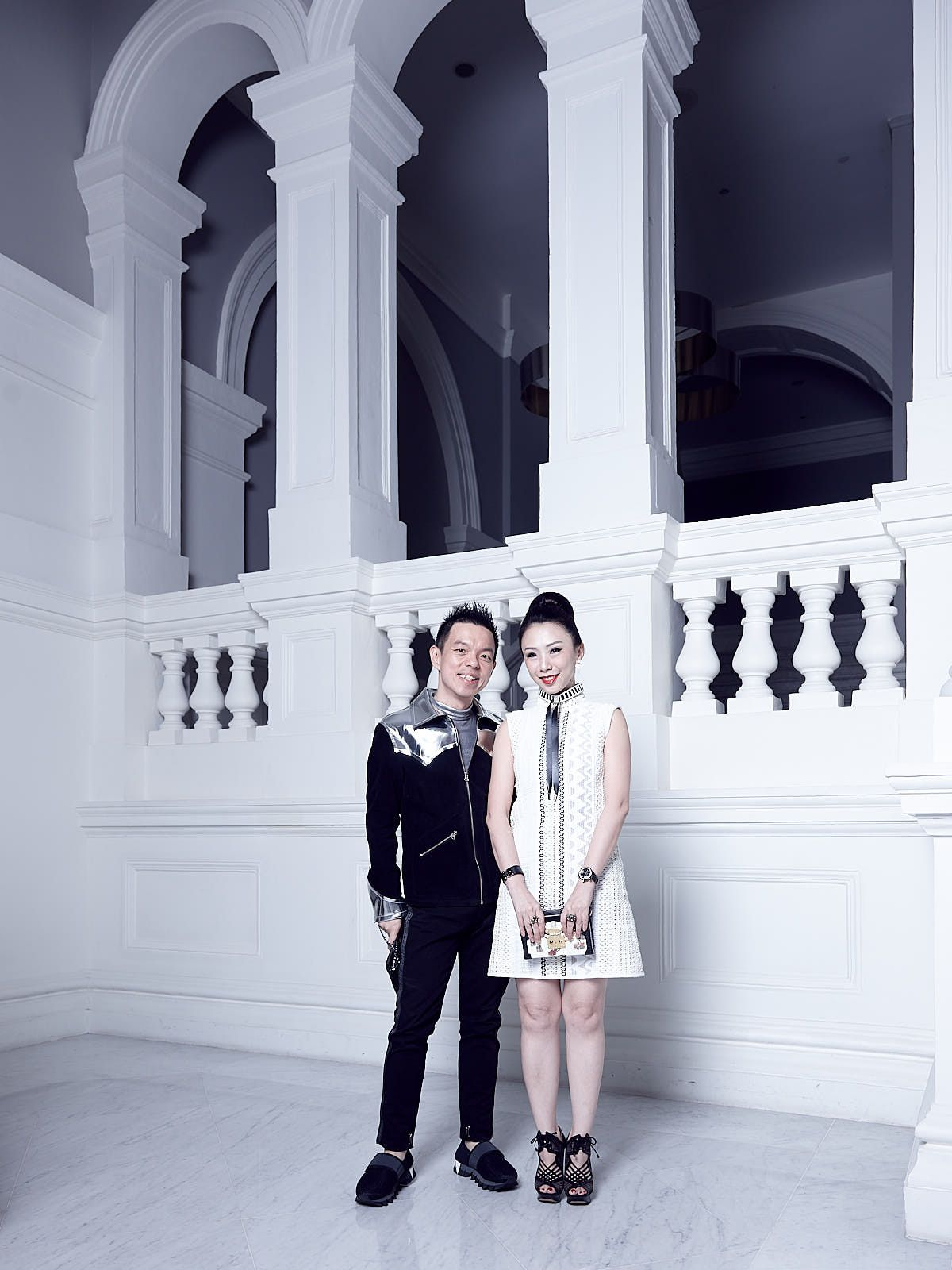 Adrian Ng in Maison Margiela & Off-White, Loh May-Han in Louis Vuitton