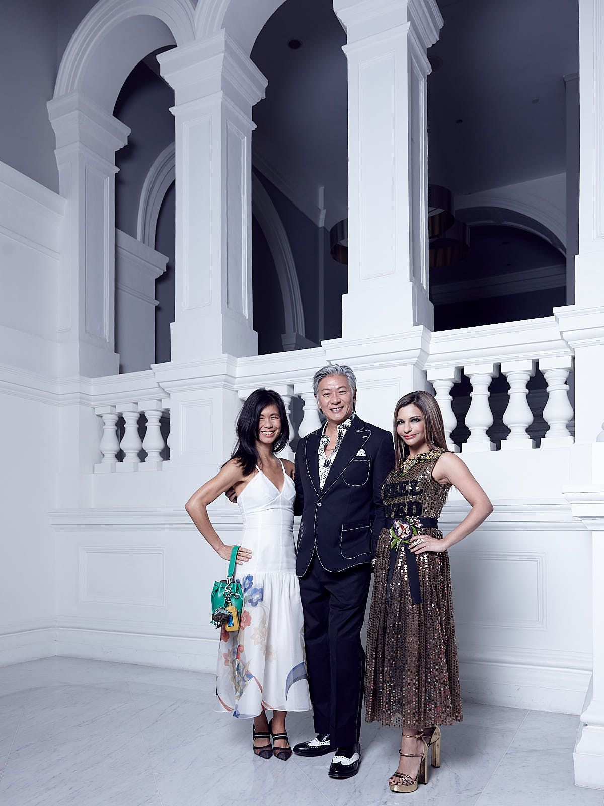 Clara Goh in Fendi, Dick Lee, Rasina Rubin in Dolce & Gabbana