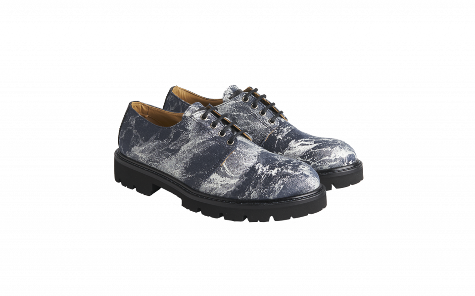 Emporio Armani Printed Amelie Fabric and Leather Derby