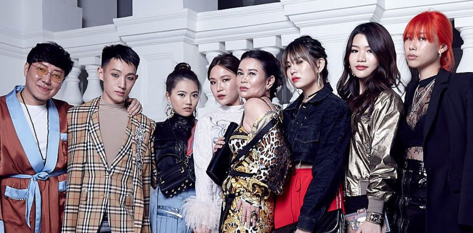 Desmond Lim in Christian Dada, Dyon Foo in Burberry, Vanessa Ng in Christian Dada; Rag & Bone, Dawn Koh in Prada, Susanna Kang in Versace, Sabrina Ho in Off-White and Area NYC, Adeline Teo in Louis Vuitton, Mae Tan in Off-White