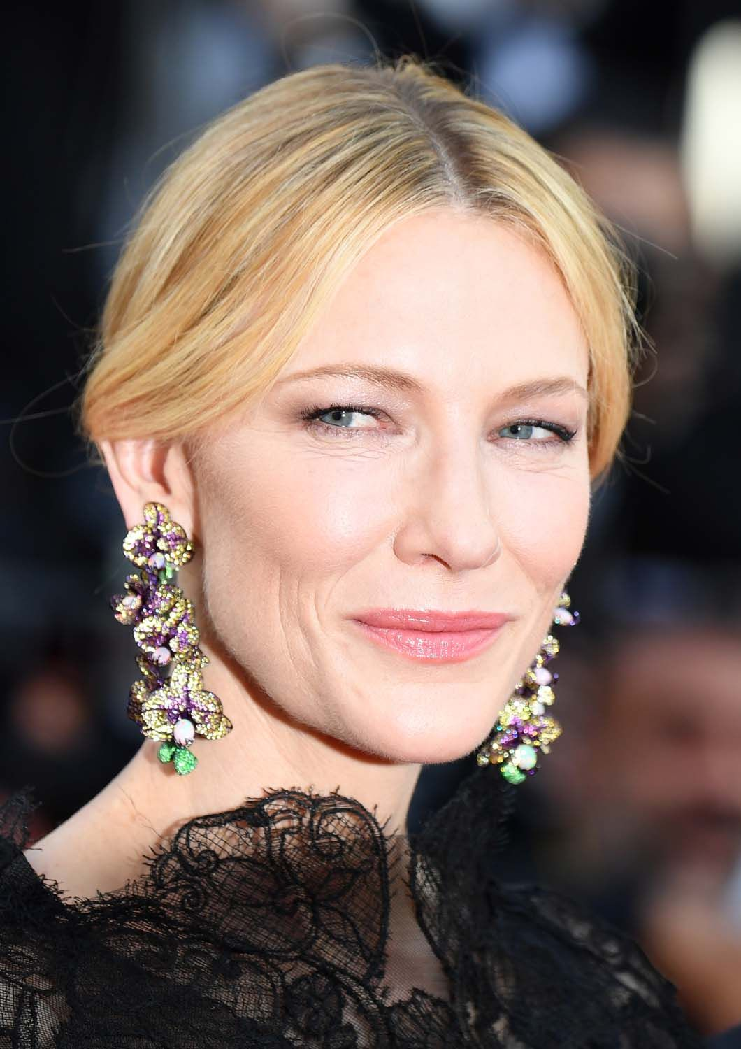 Jury president Cate Blanchett wore orchid-shaped earrings from Chopard's Red Carpet Collection for the first red carpet at the 71st Cannes Film Festival.