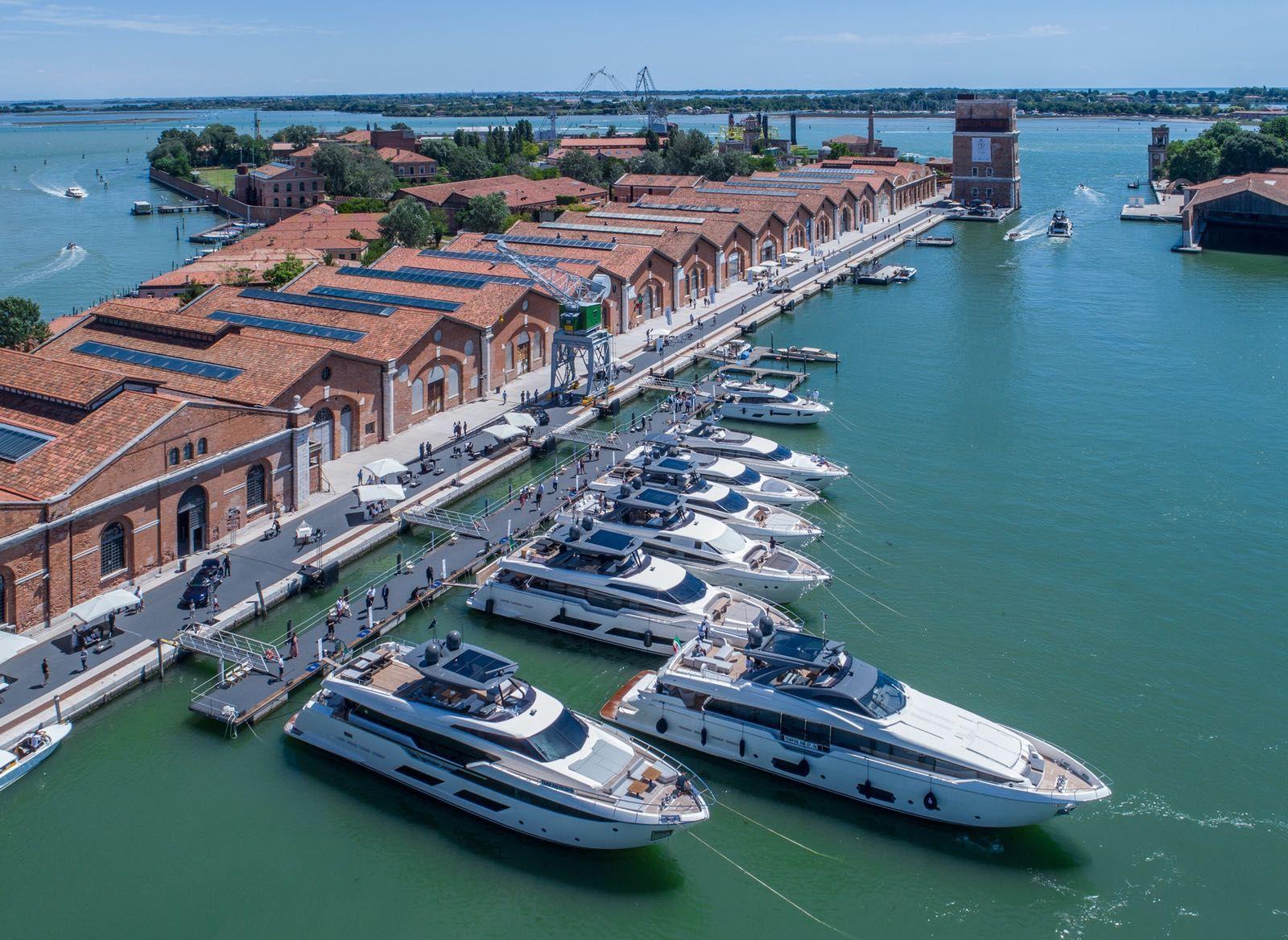 The Ferretti Yachts fleet moored at the Arsenale di Venezia