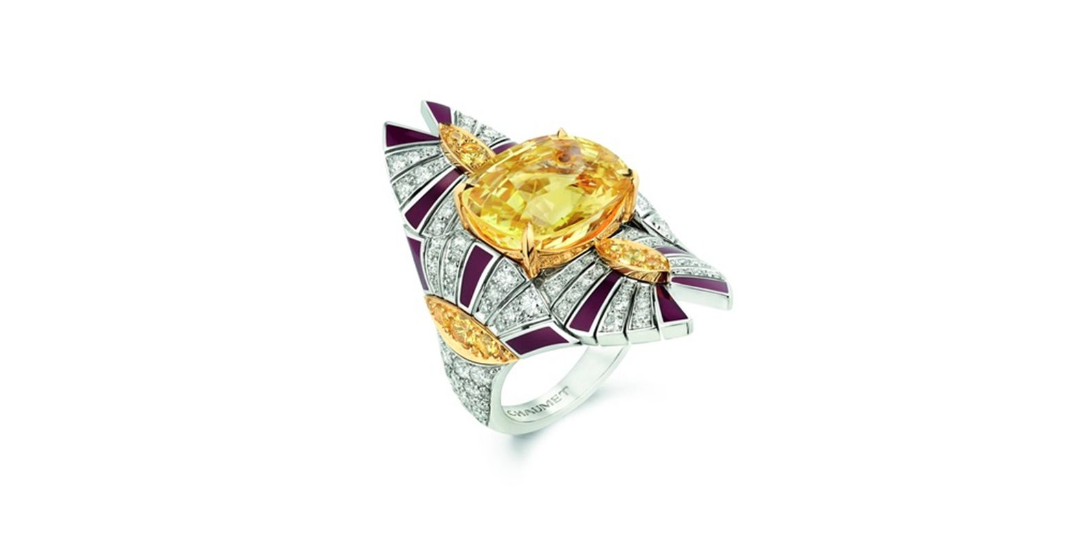 Ring in white gold and yellow gold, set with a 12.36-carat oval yellow Ceylon sapphire, round yellow sapphires, lacquer and brilliant-cut diamonds. Terres d'Or, Trésors d'Afrique, Chaumet