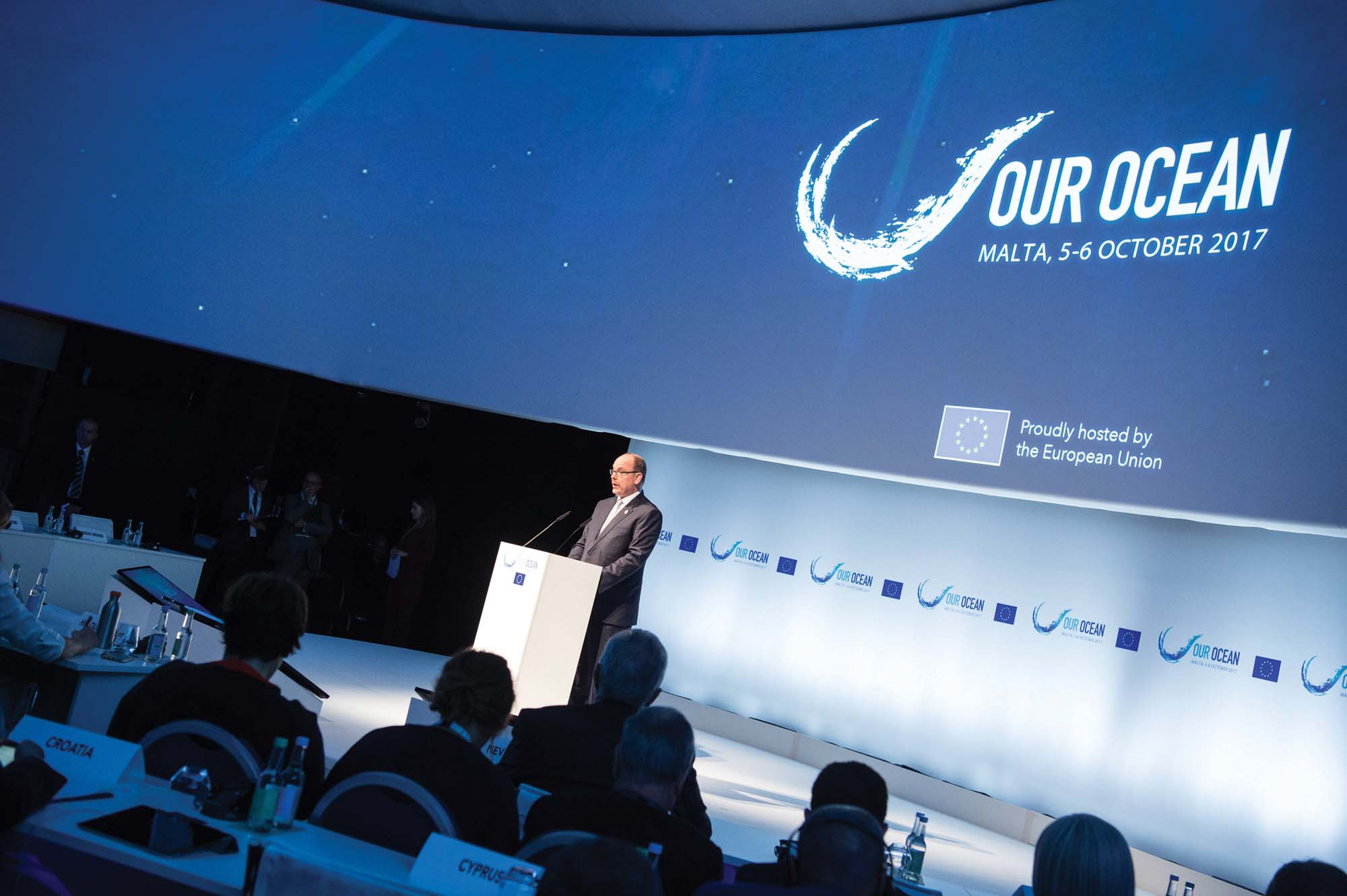 Prince Albert II was invited to speak at Our Ocean 2017 in Malta to inspire a new generation of leaders, entrepreneurs and scientists working towards a sustainably managed ocean; Plymouth University's Marine Protected Areas project has been supported by the Prince Albert II of Monaco Foundation since 2014 (photo by Prince's Palace of Monaco)